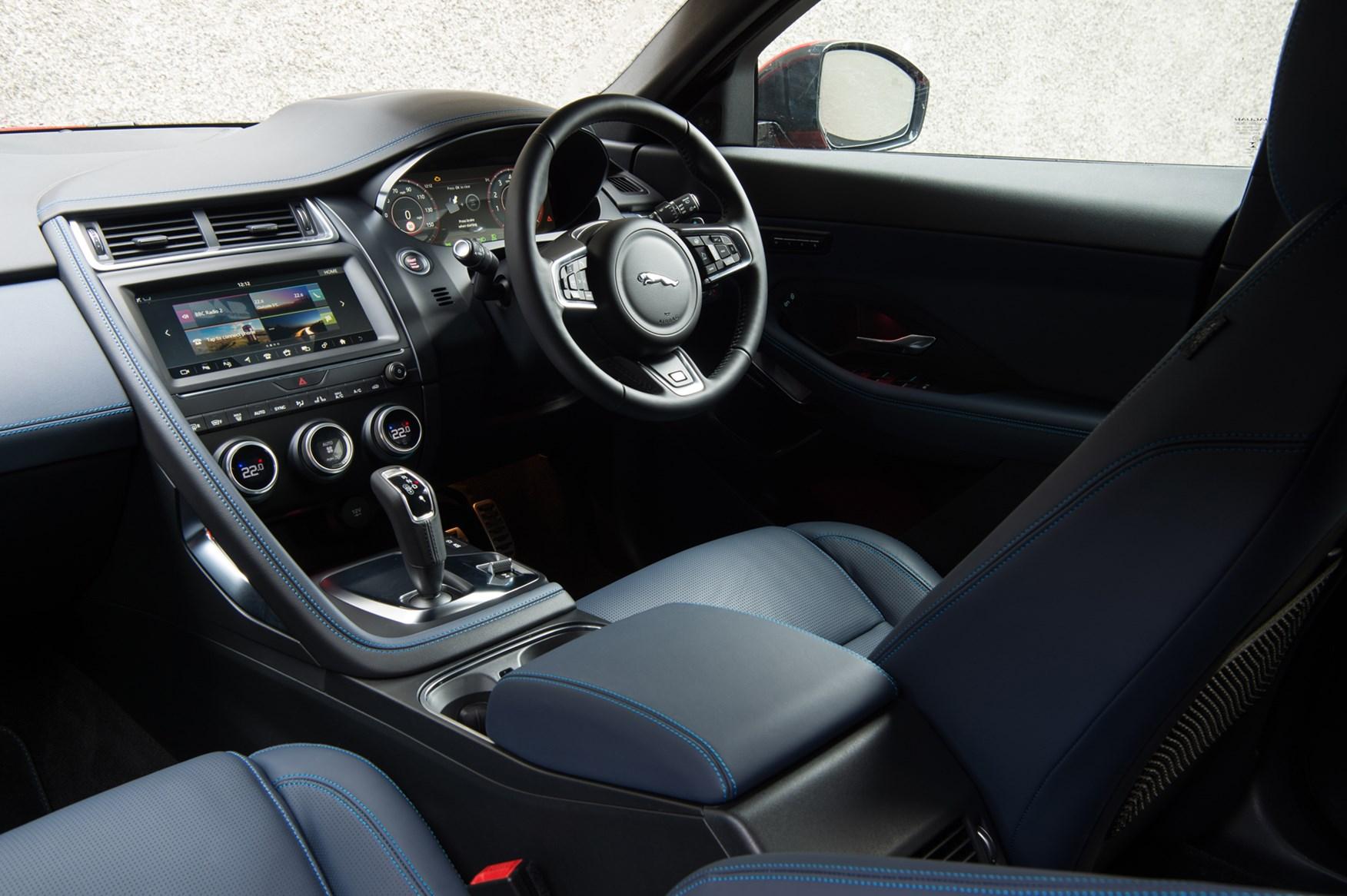 Black 2017 Jaguar E-Pace SUV interior