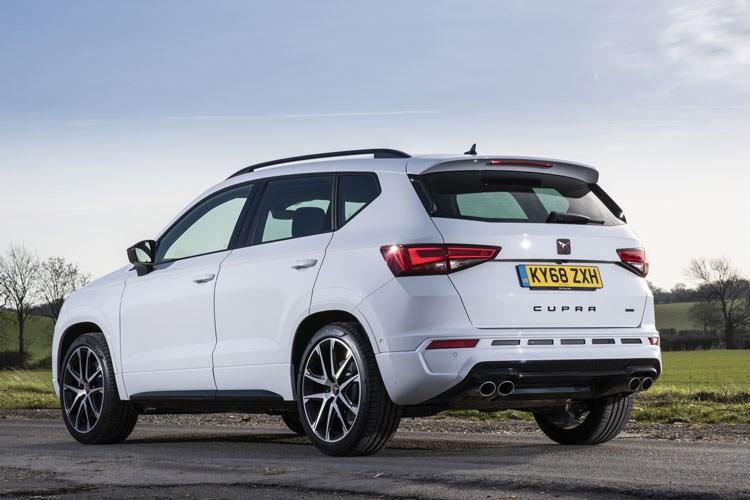 White 2019 Cupra Ateca SUV rear three-quarter