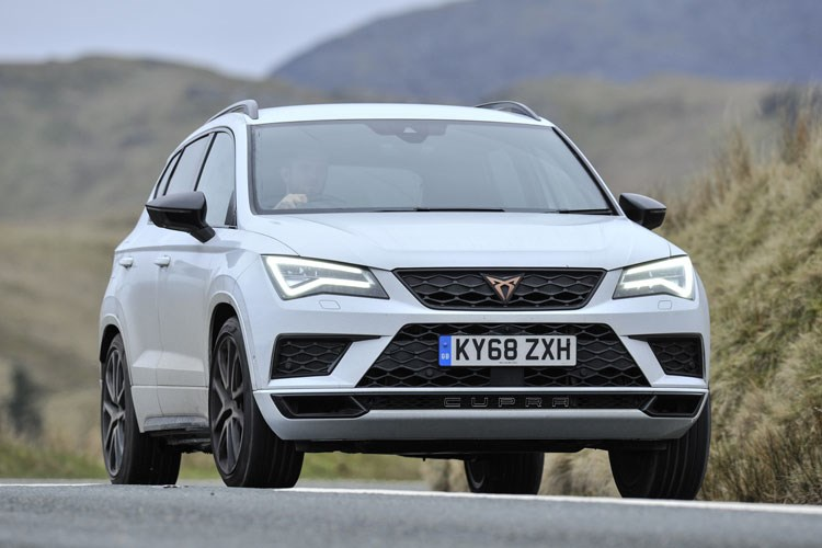 White 2019 Cupra Ateca SUV front three-quarter driving
