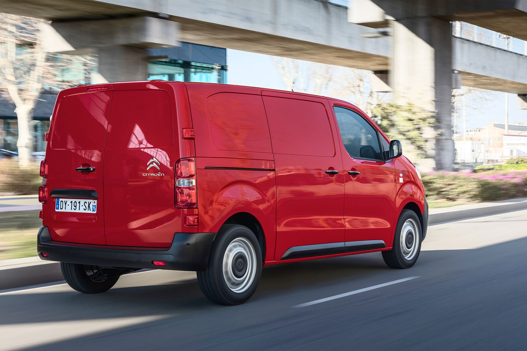 Citroen Dispatch review - rear view, red, driving through city