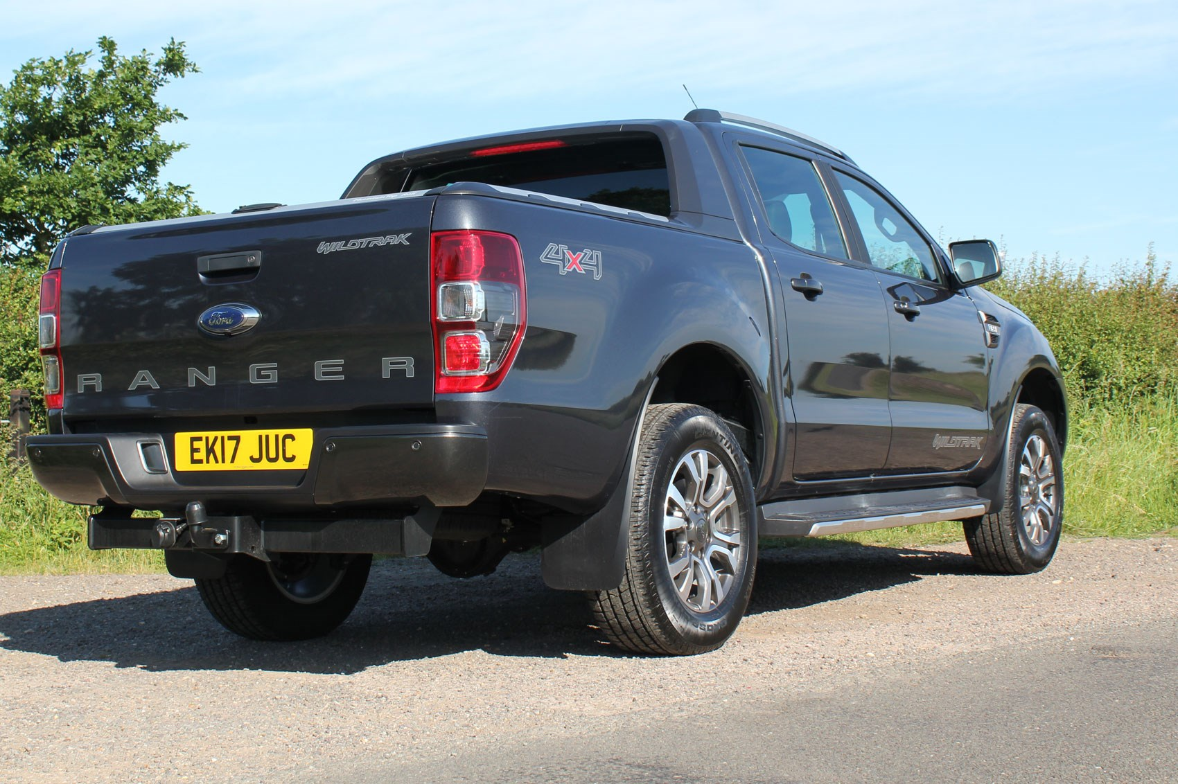 Ford Ranger Wildtrak Euro 6 review - dark grey, rear view