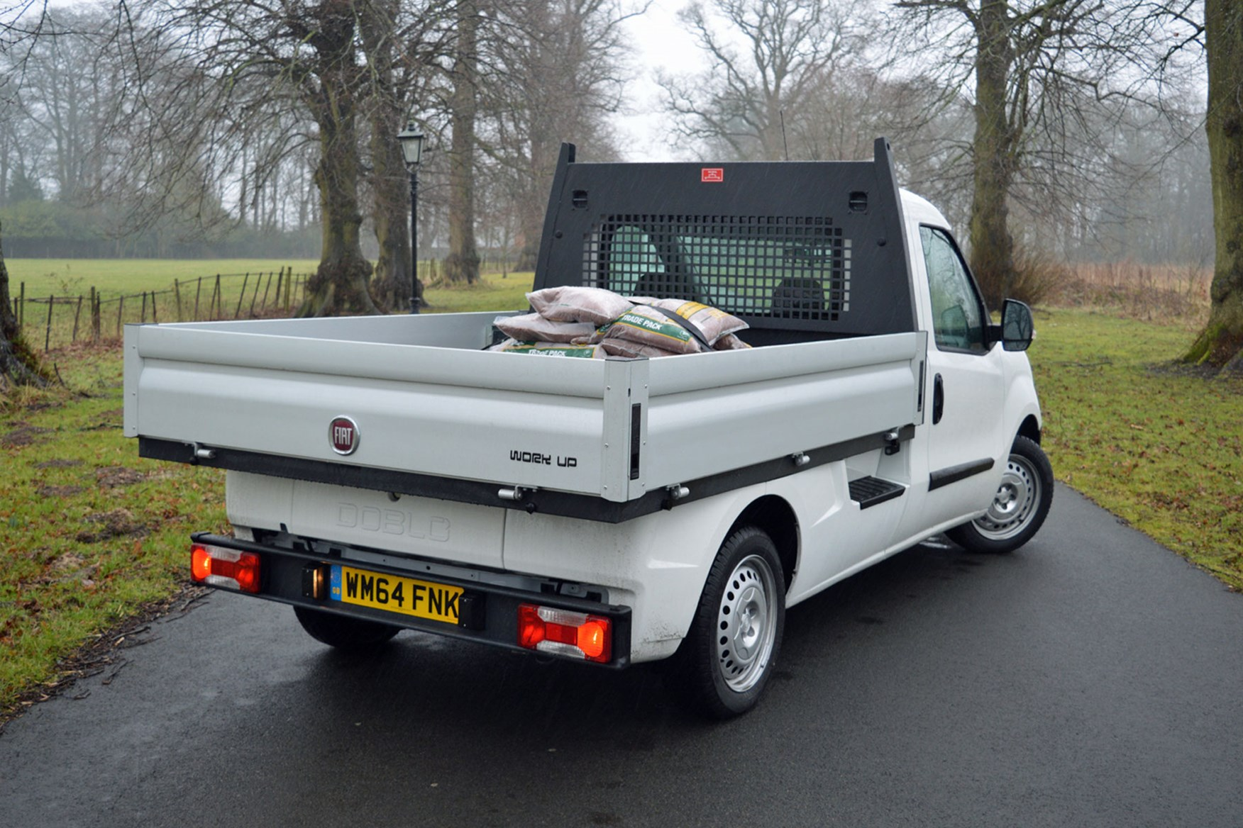Fiat Doblo review - Work Up dropside pickup, rear view, white, 2015