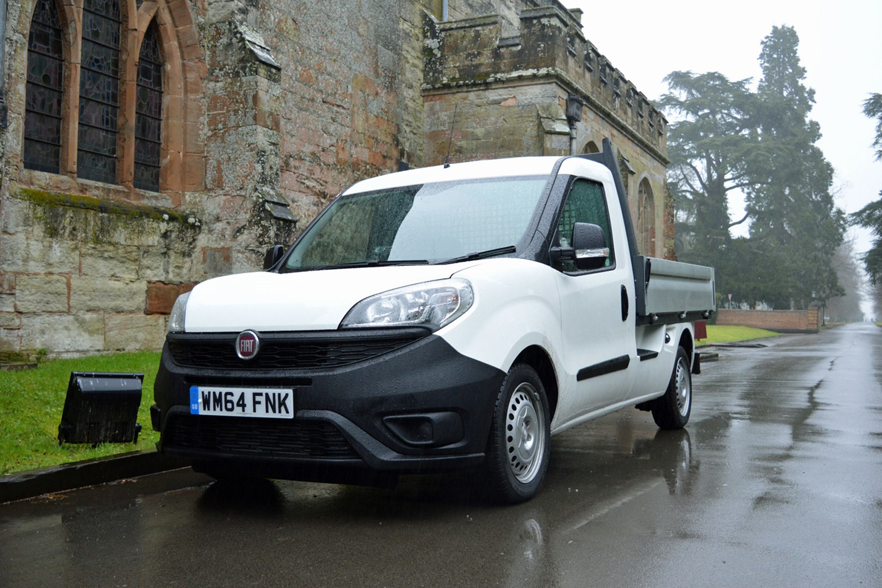 Fiat Doblo review - Work Up dropside pickup, front view, white, parked in road, 2015