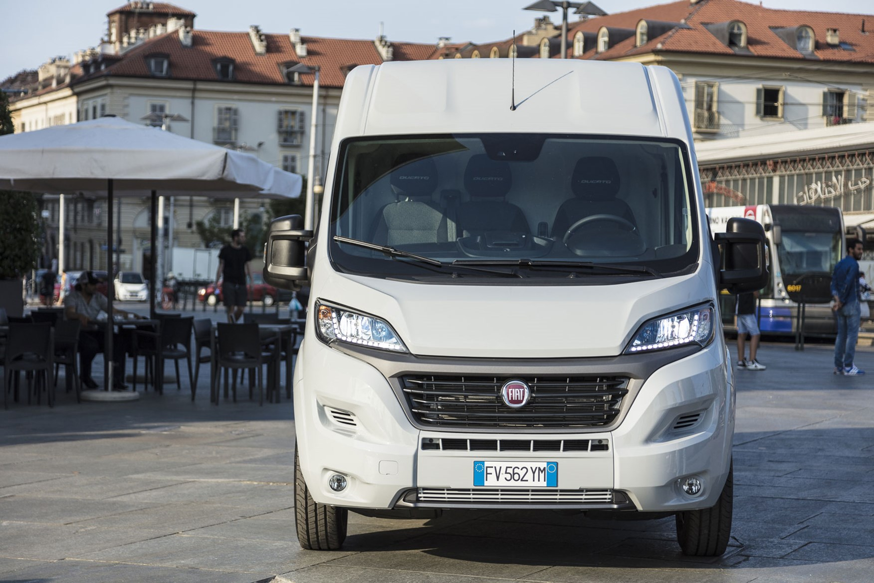Fiat Ducato review - 2019 MY20, silver, dead-on front view