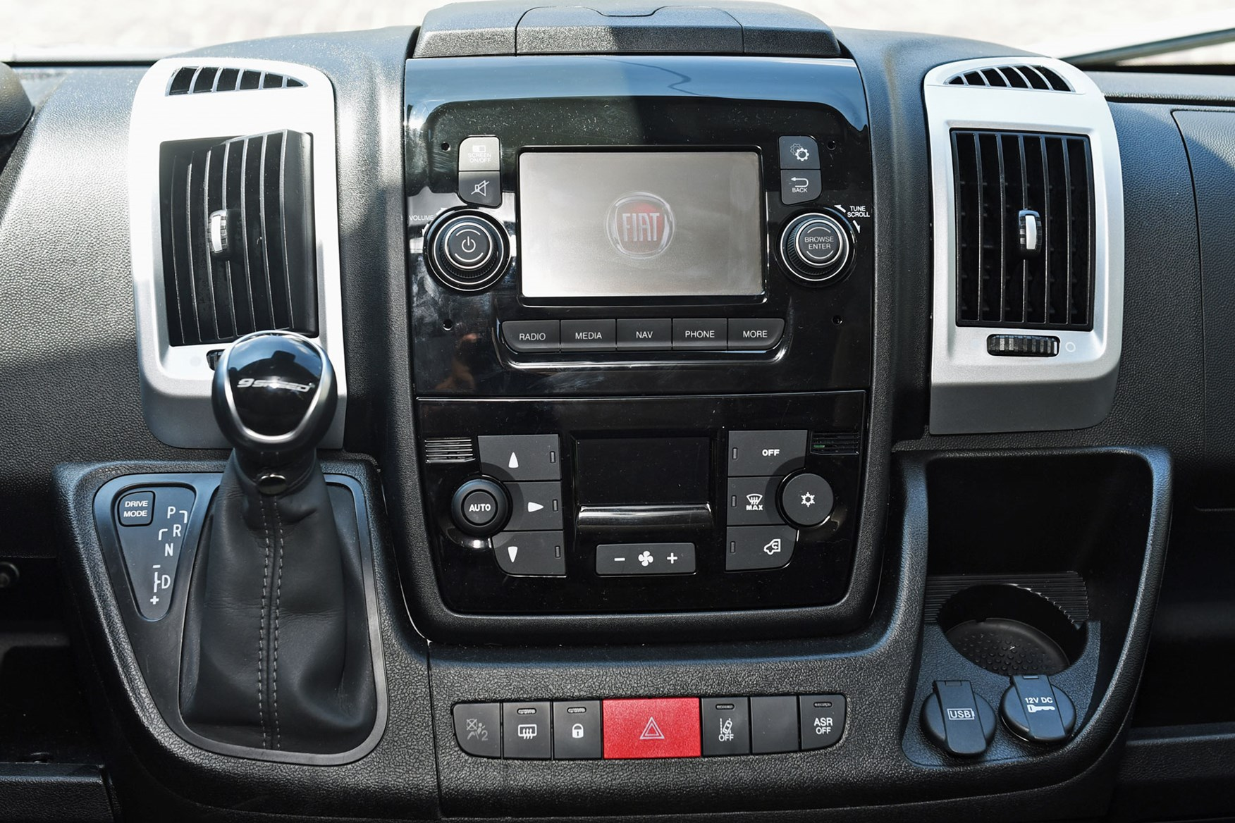 Fiat Ducato review - 2019 MY20 cab interior, centre console close up with nine-speed automatic gearbox