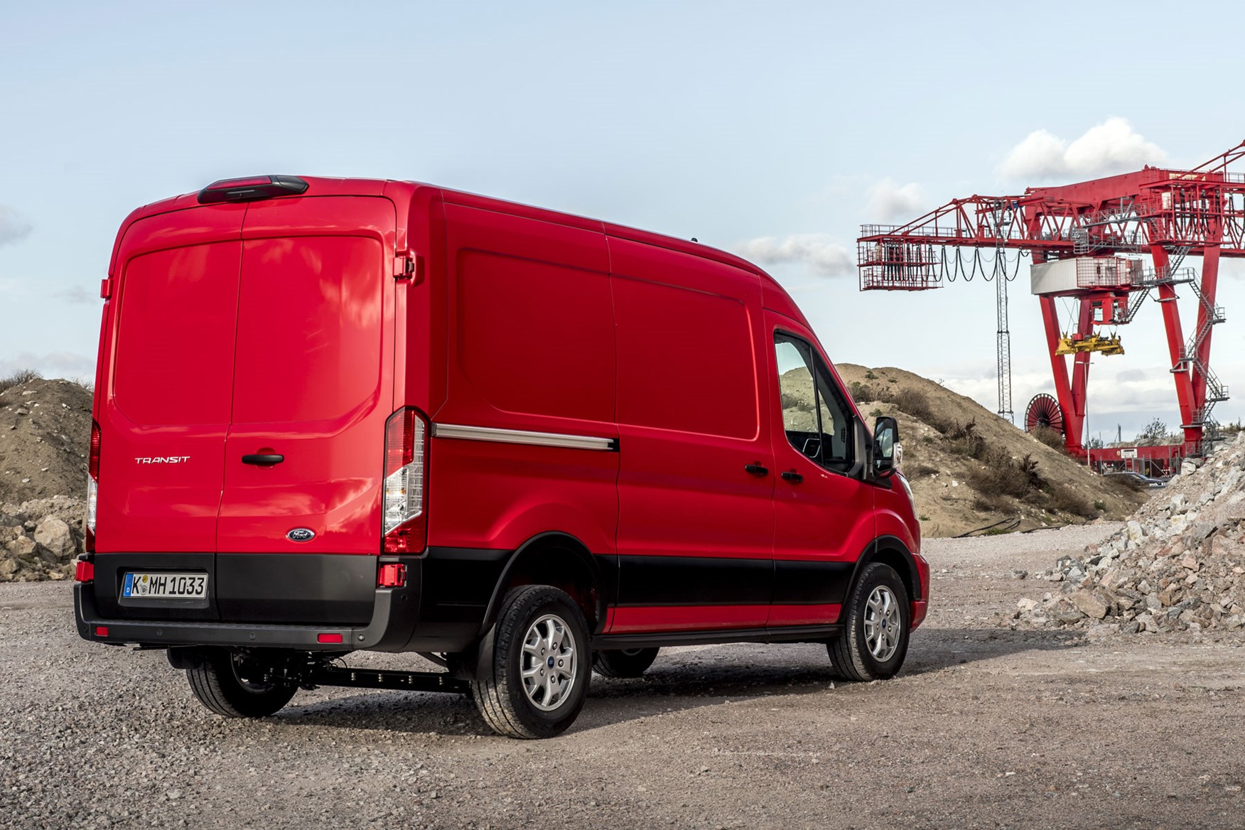 Ford Transit review - 2019 facelift model, rear view, red