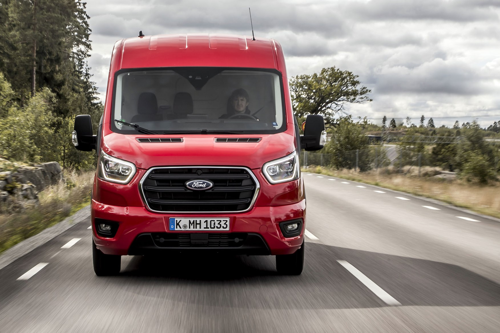 Ford Transit review - 2019 facelift model, dead-on front view, red, Limited