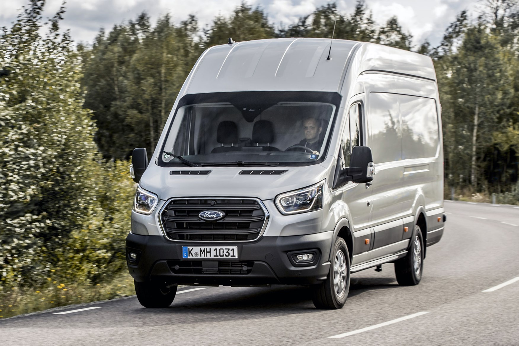 Ford Transit review - 2019 facelift model, front-view, silver, driving