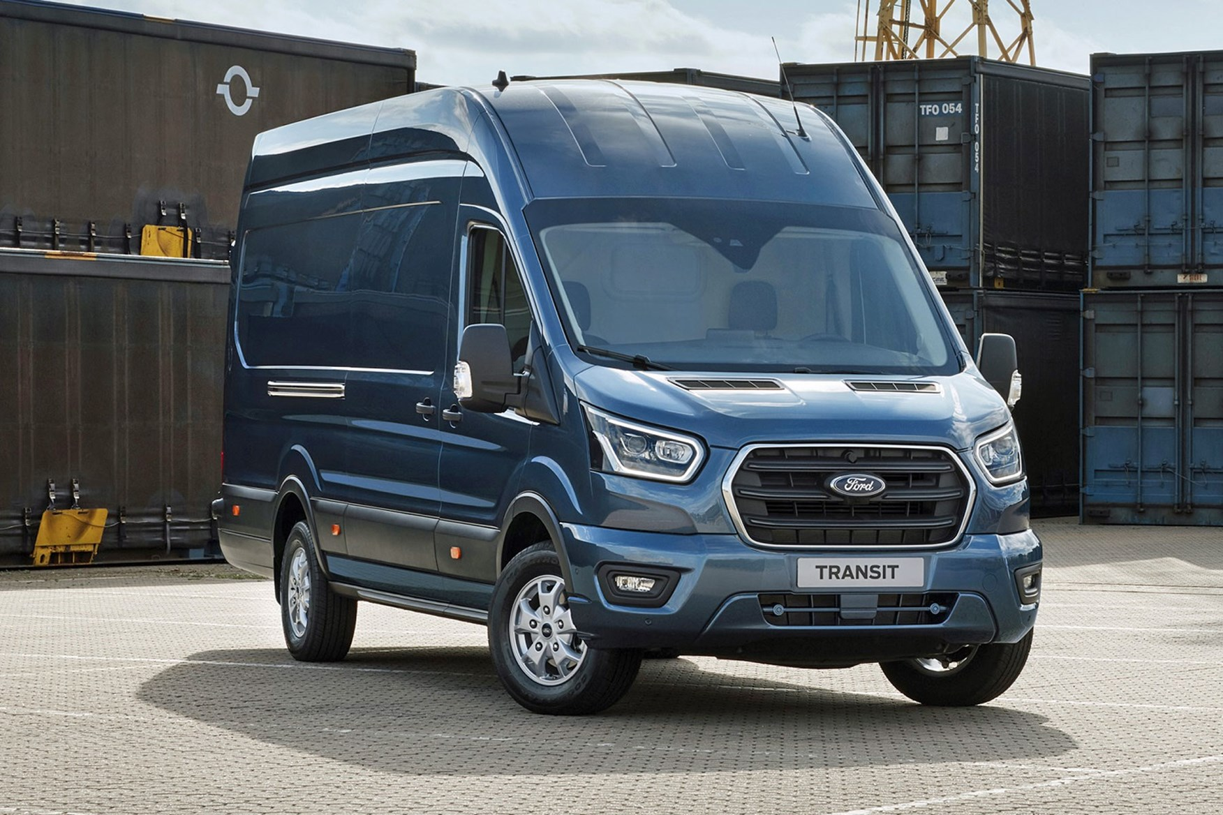 Ford Transit 2019 facelift - front view, blue