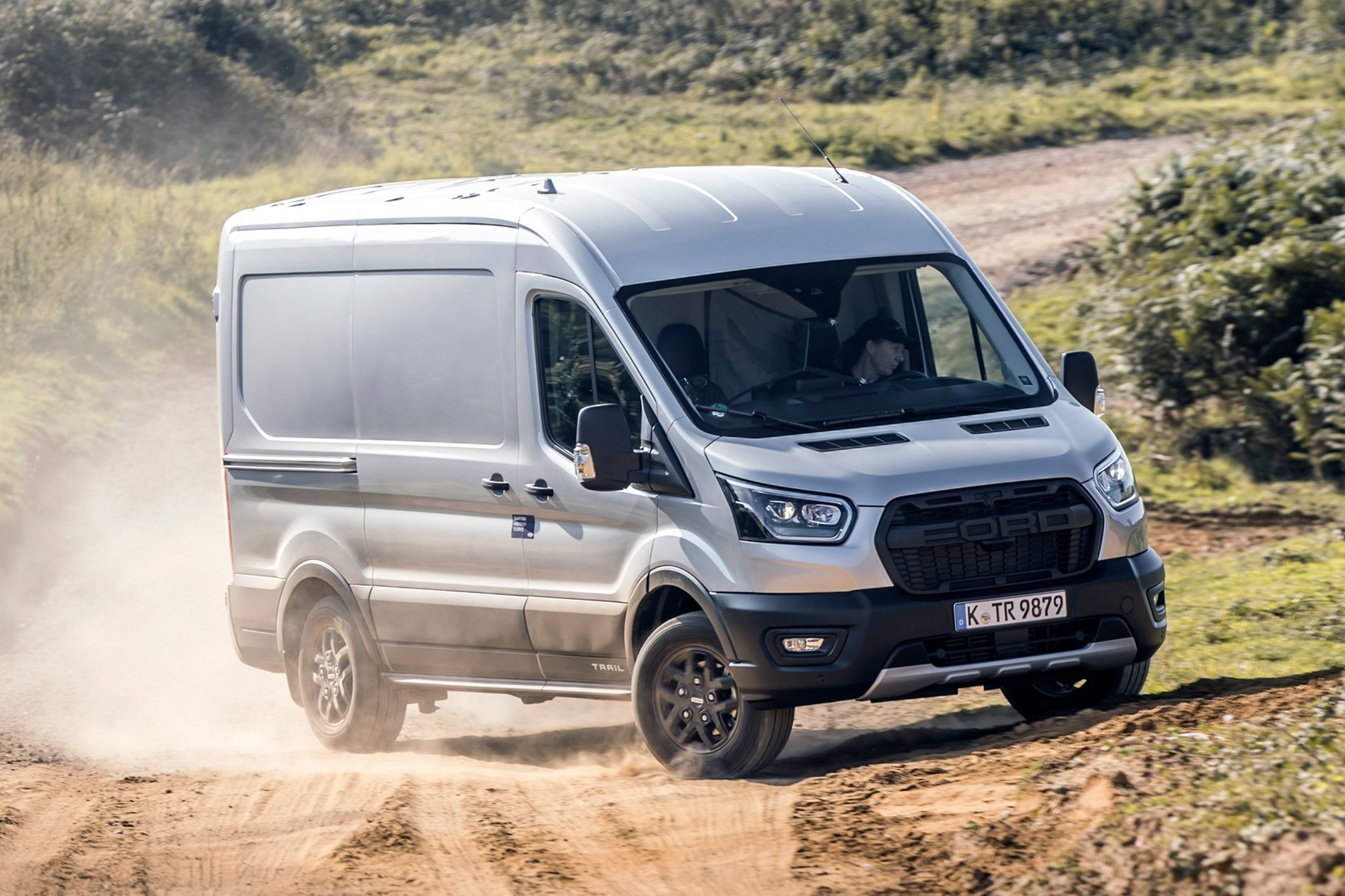 Ford Transit Trail review, 2020, all-wheel drive, AWD, 4x4, front view, driving off-road