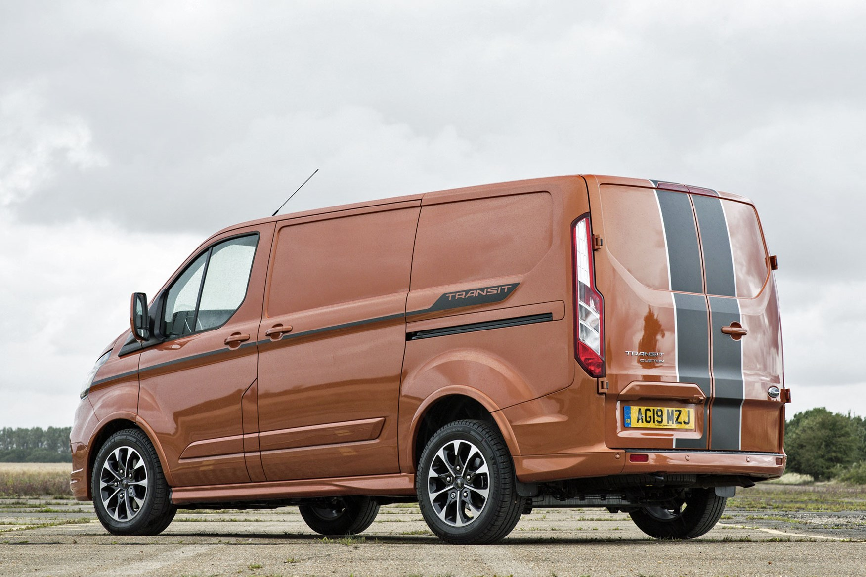 Ford Transit Custom review - 2019 Sport Van, rear view, orange