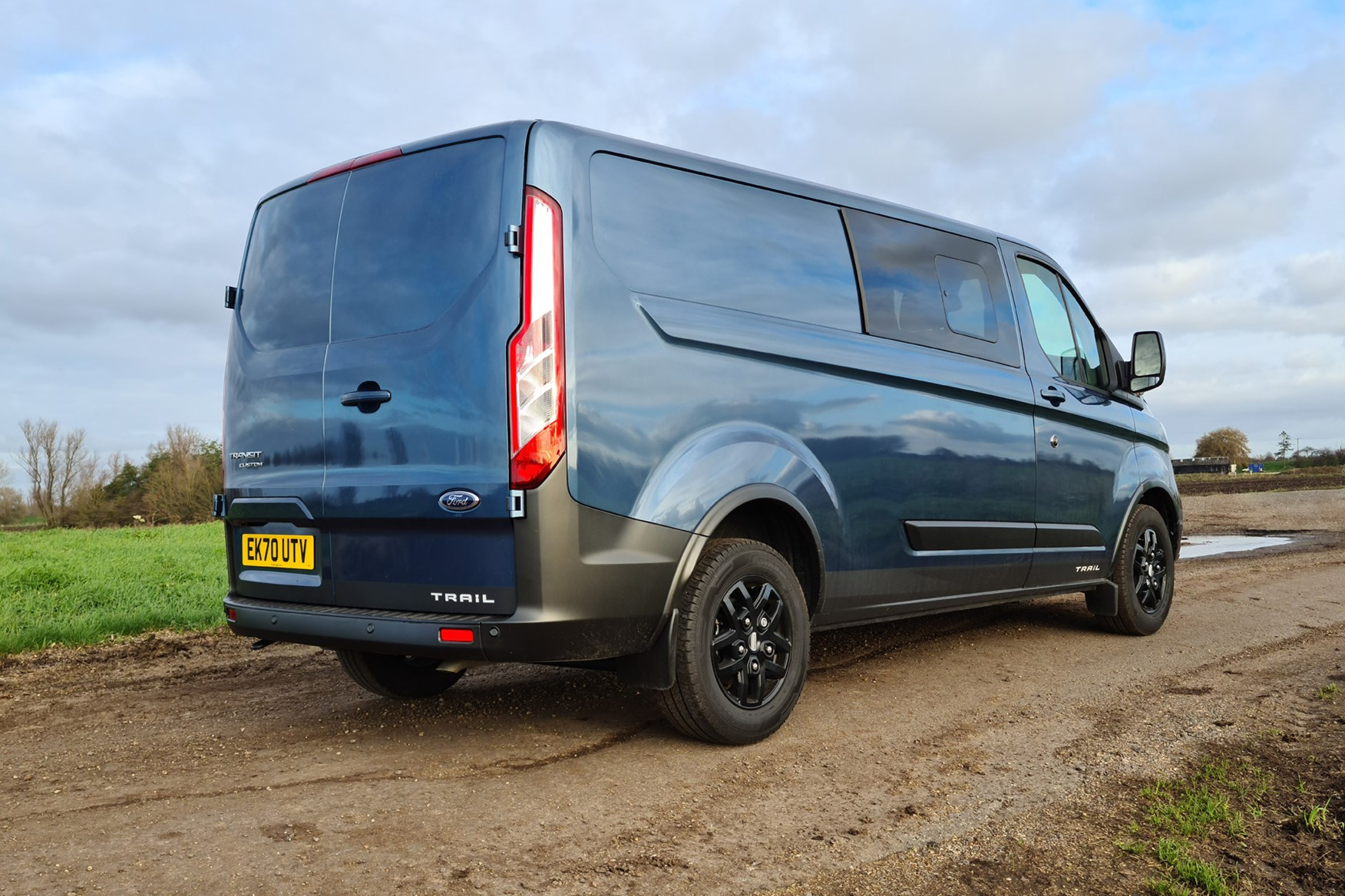 Ford Transit Custom Trail review, L2, DCiV, 2020, rear view, Chrome Blue