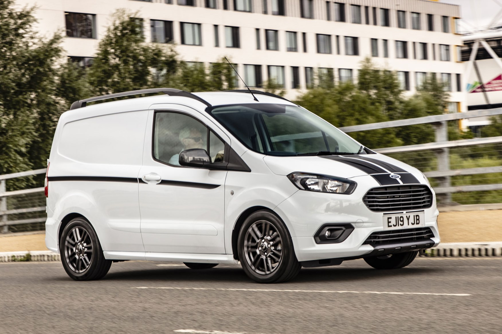 Ford Transit Courier Sport review - 1.5-litre EcoBlue 100hp model, 2019, white, front view, driving