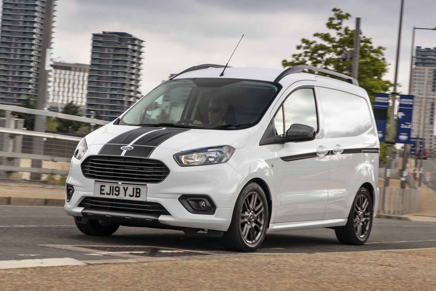 Ford Transit Courier review, 2019 facelift model, front view, white, driving, Sport