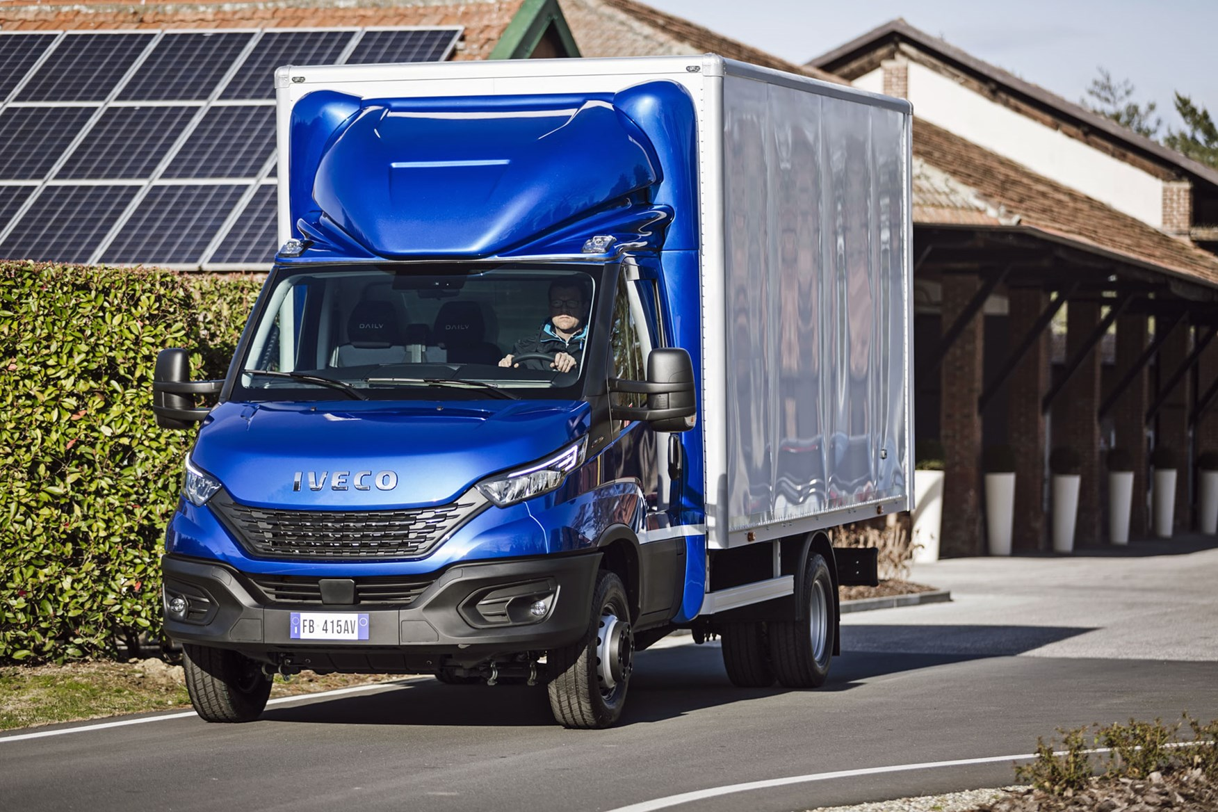 Iveco Daily 2019 - box van, blue and white, driving, front view