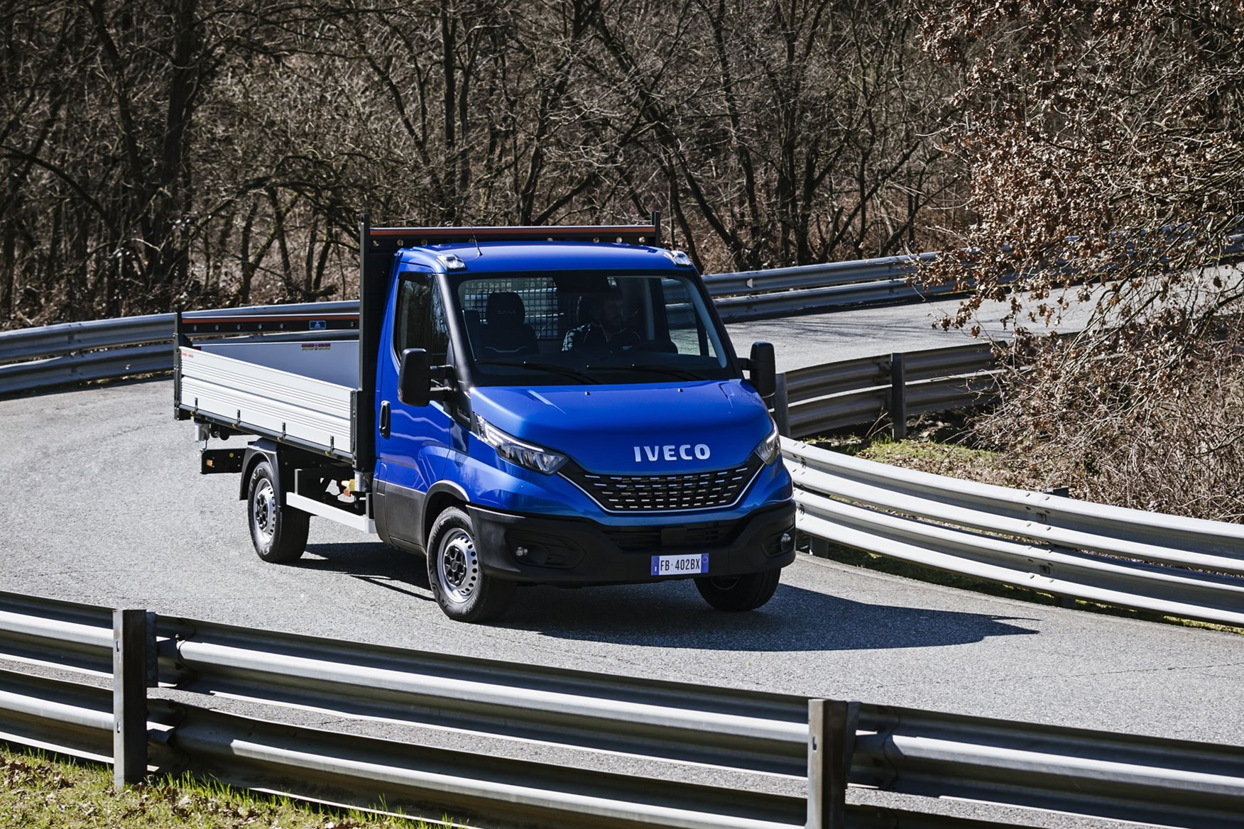 Iveco Daily 2019 review - tipper, driving, front view, blue