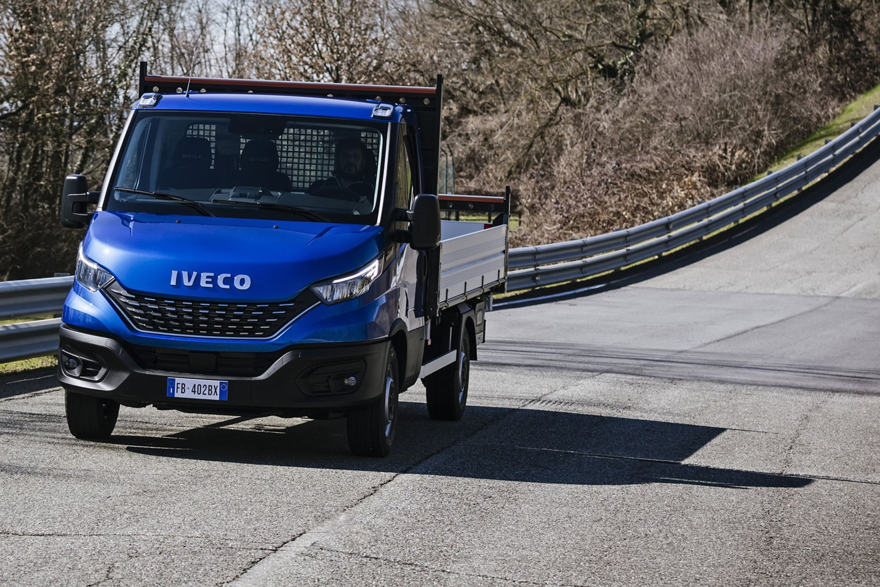 Iveco Daily 2019 review - tipper, front view, driving, blue