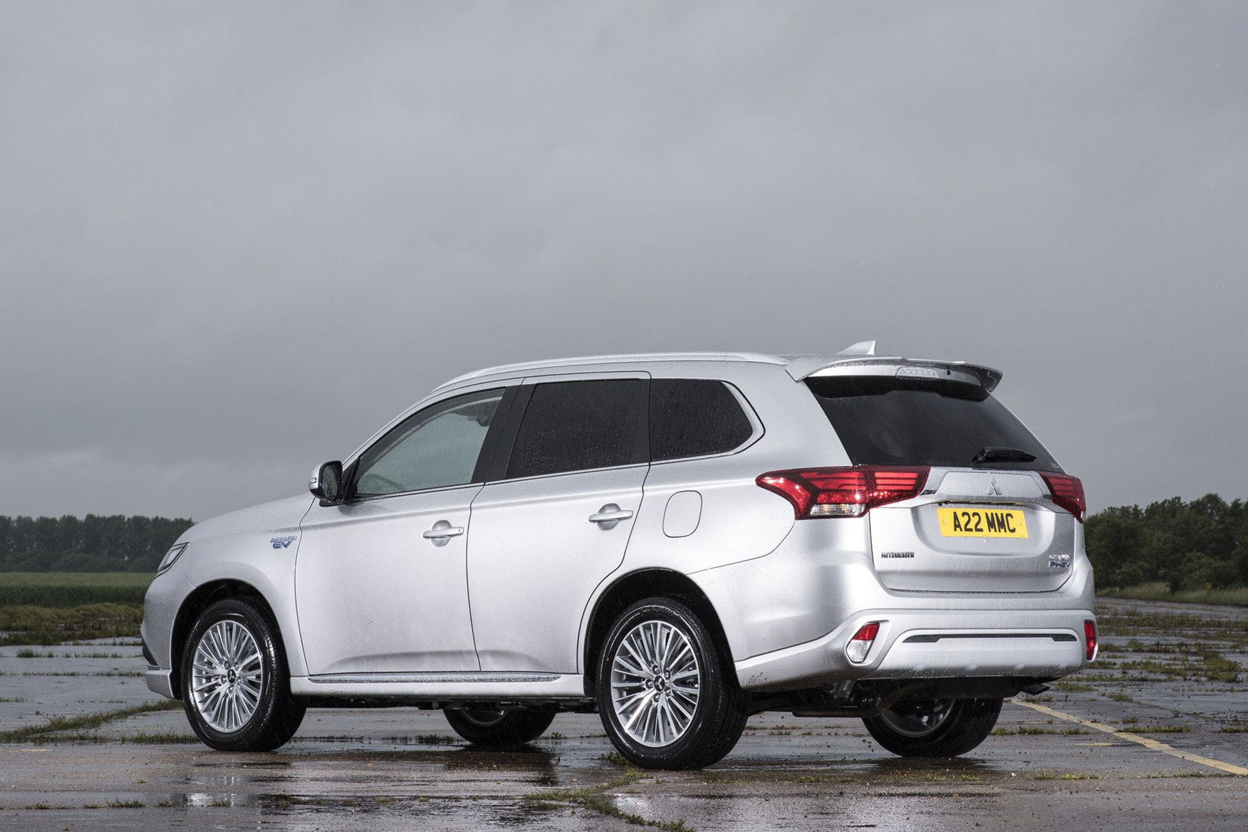 Mitsubishi Outlander Commercial 4x4 van review - 2019 PHEV rear view, silver