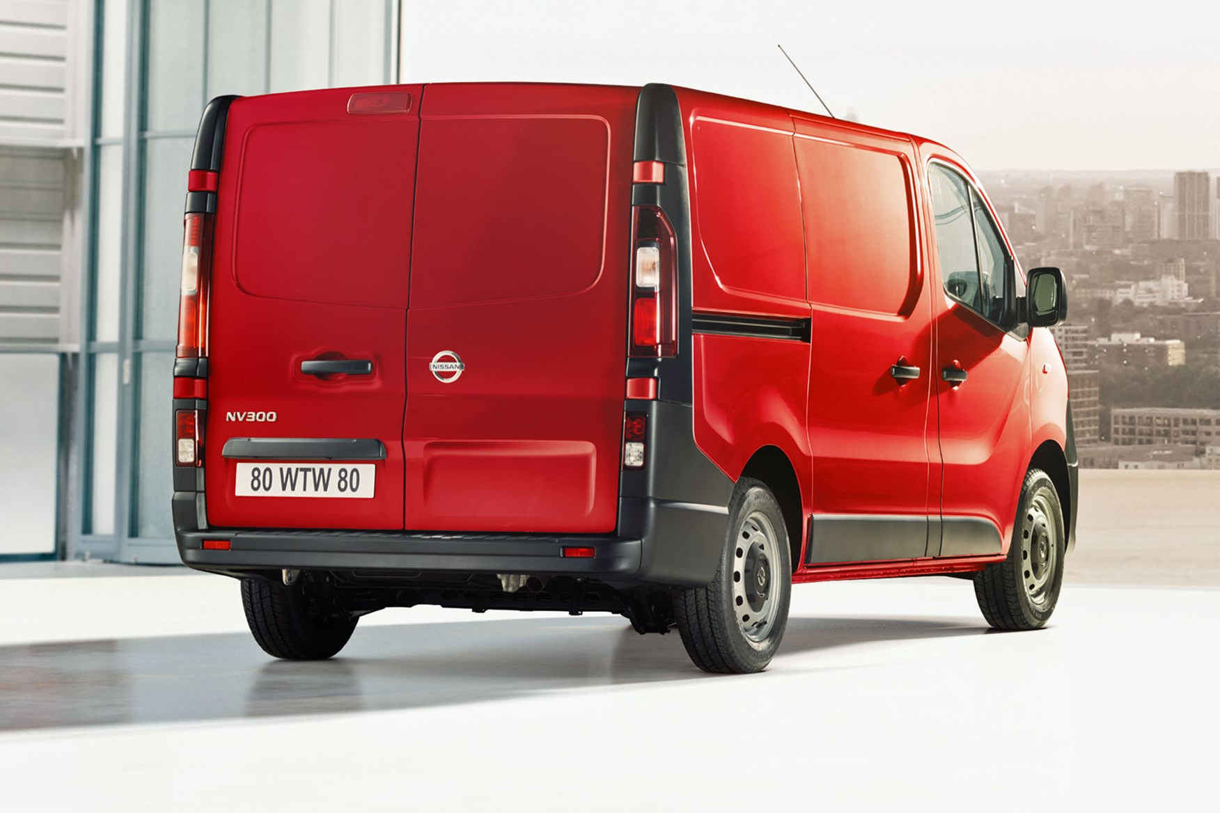 Nissan NV300 - red, rear view, 2019 update model