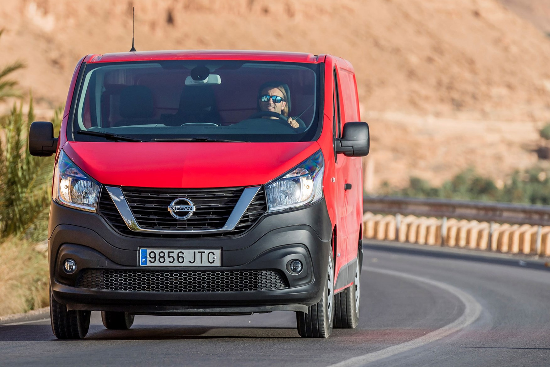 Nissan NV300 - red, driving in Morocco, front view, 2016