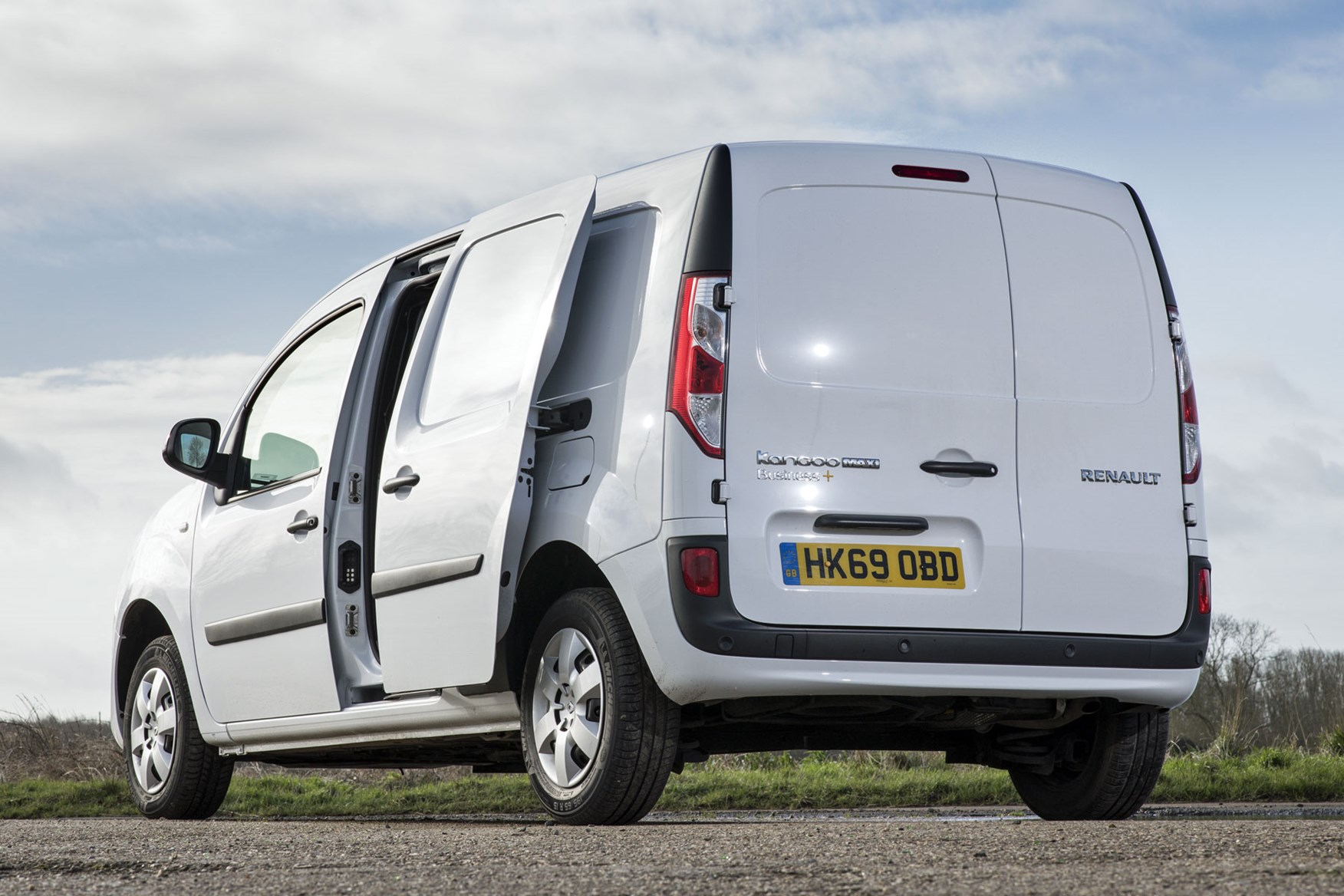 Renault Kangoo van review - rear view with sliding side door open, 2020