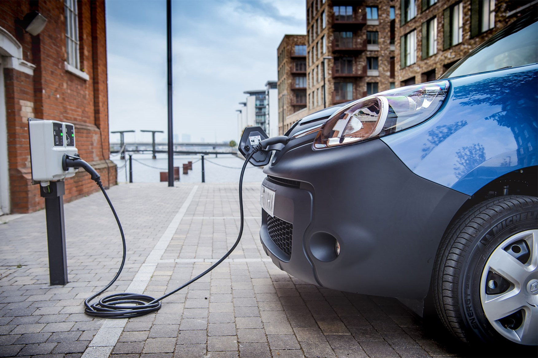 Renault Kangoo ZE electric van - plugged in to charge, 2020