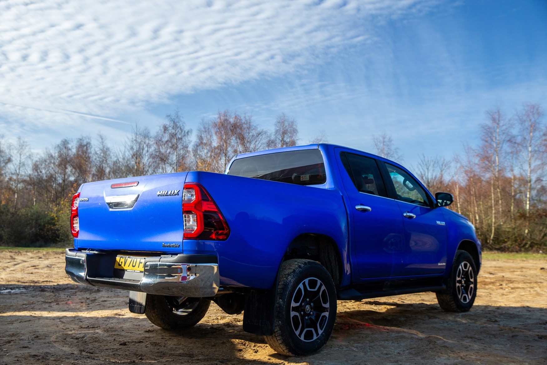 Toyota Hilux review, 2020 facelift, Invincible, blue, rear view