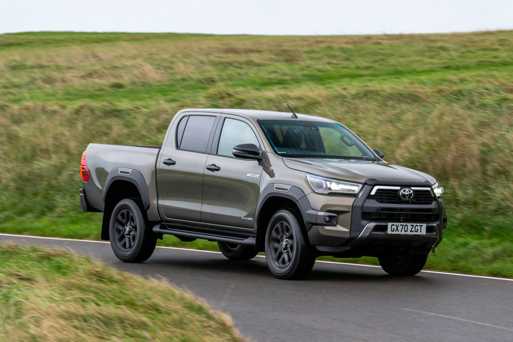 Toyota Hilux review, 2020 facelift, front view, rolling round corner, Invincible X, bronze