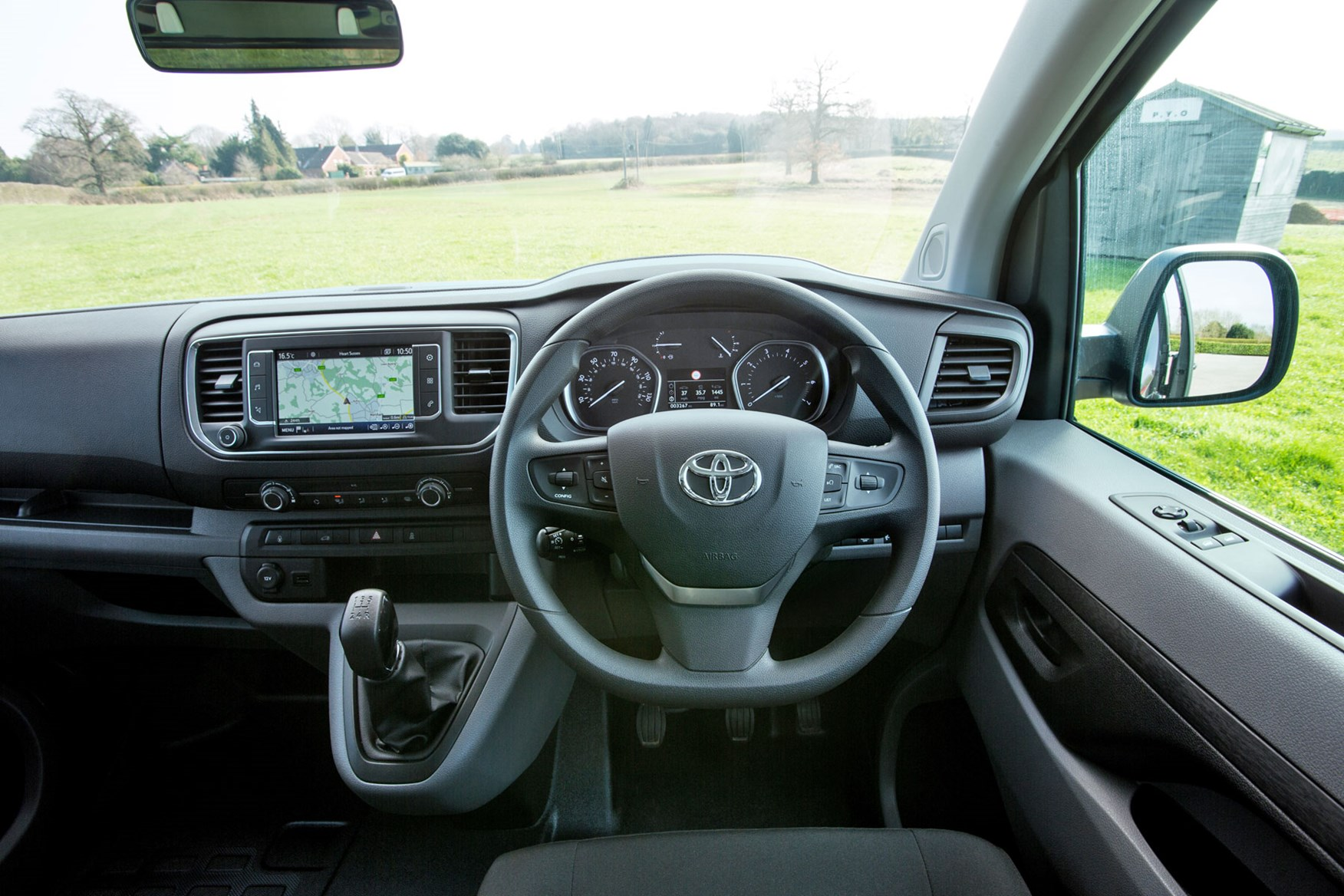 Toyota Proace review - cab interior, steering wheel, dials, infotainment, 2018