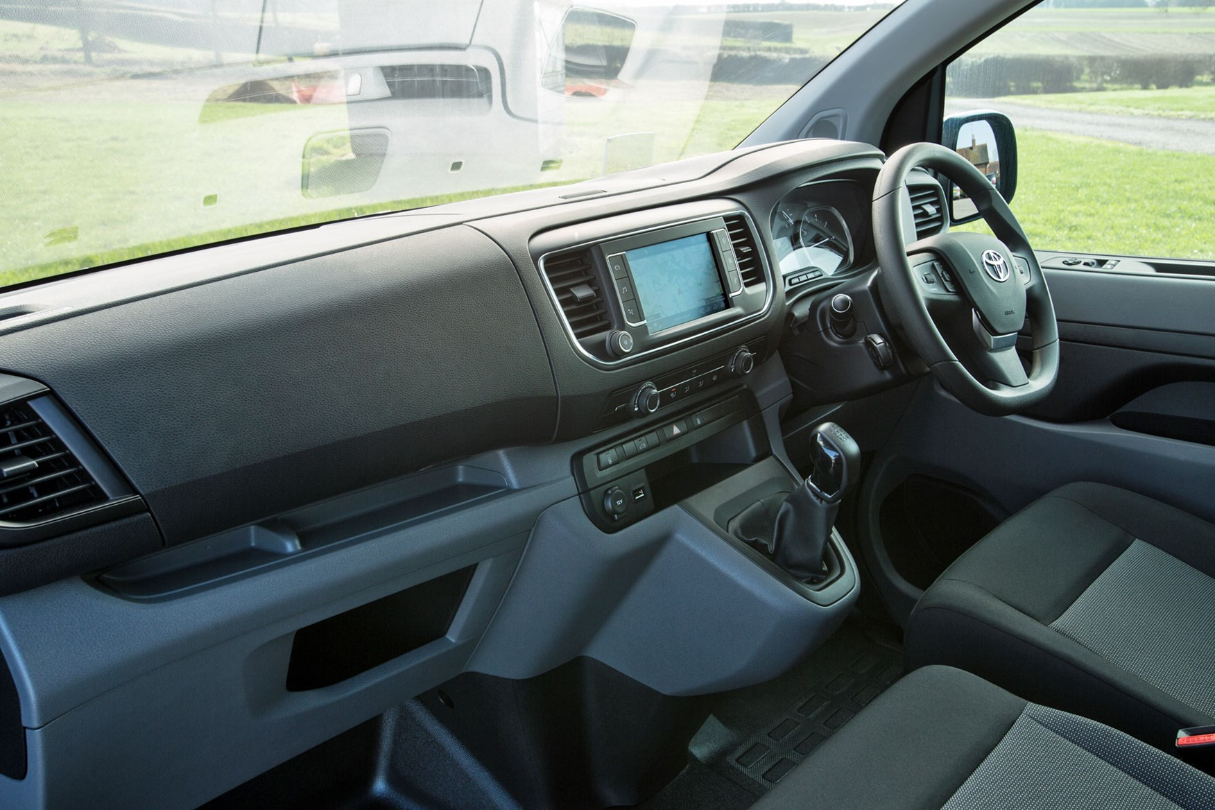 Toyota Proace review - cab interior showing whole dashboard from passenger side, 2018