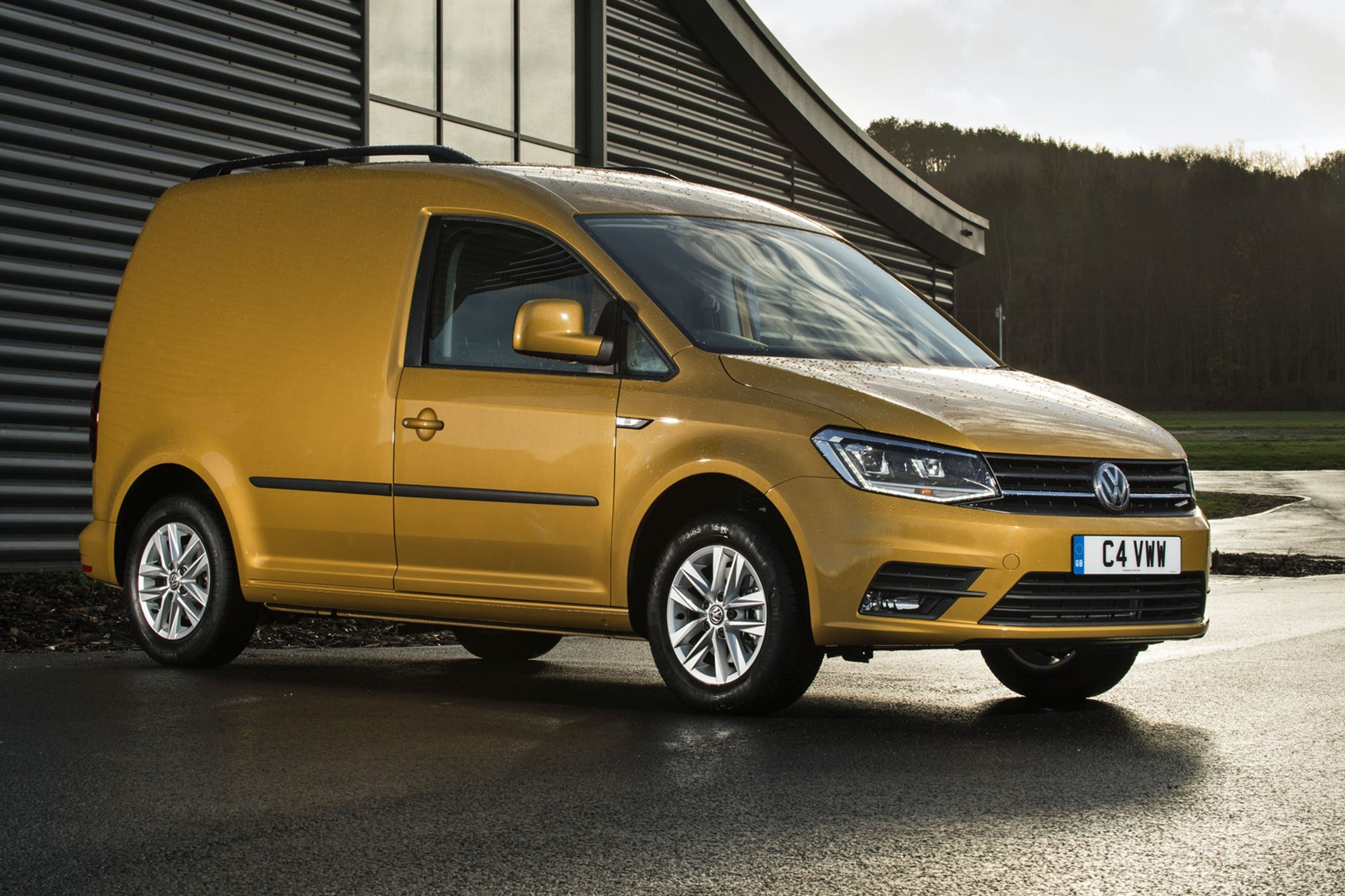 VW Caddy review - 2018 model, front view, yellow