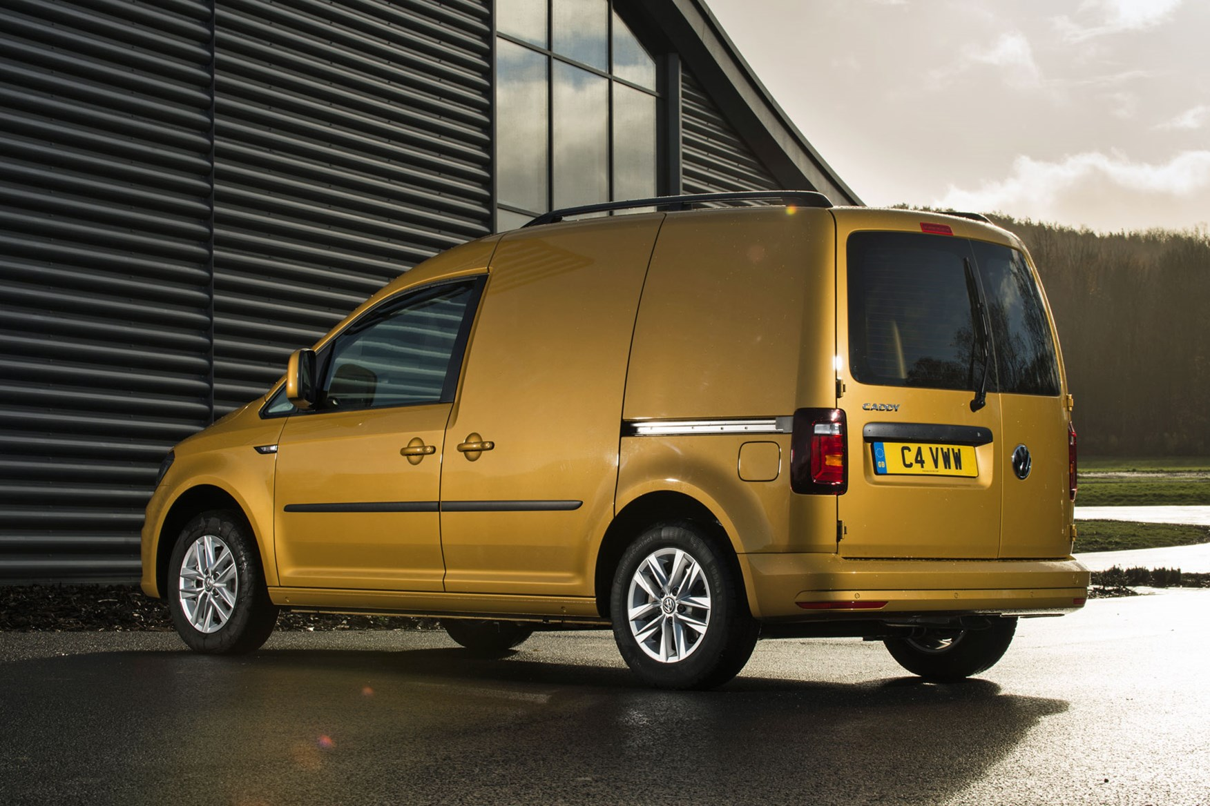 VW Caddy review - 2018 model, rear view, yellow