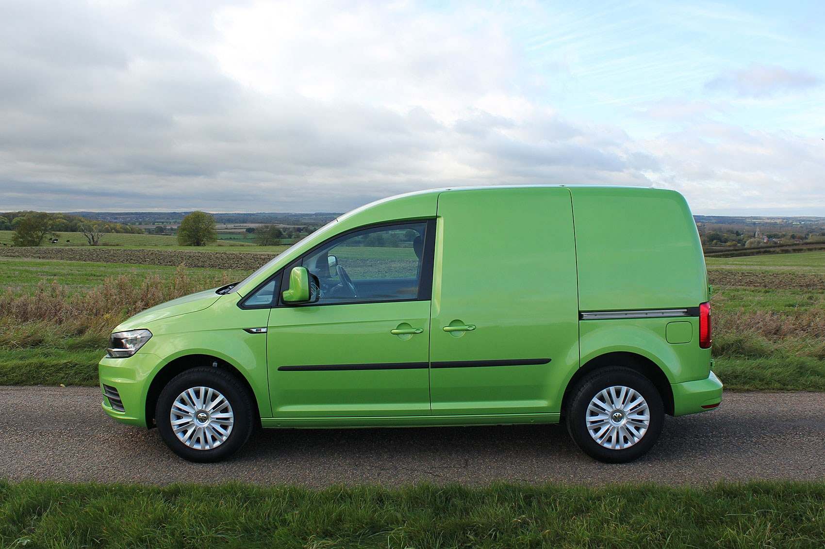 VW Caddy review - side view, green, 2017