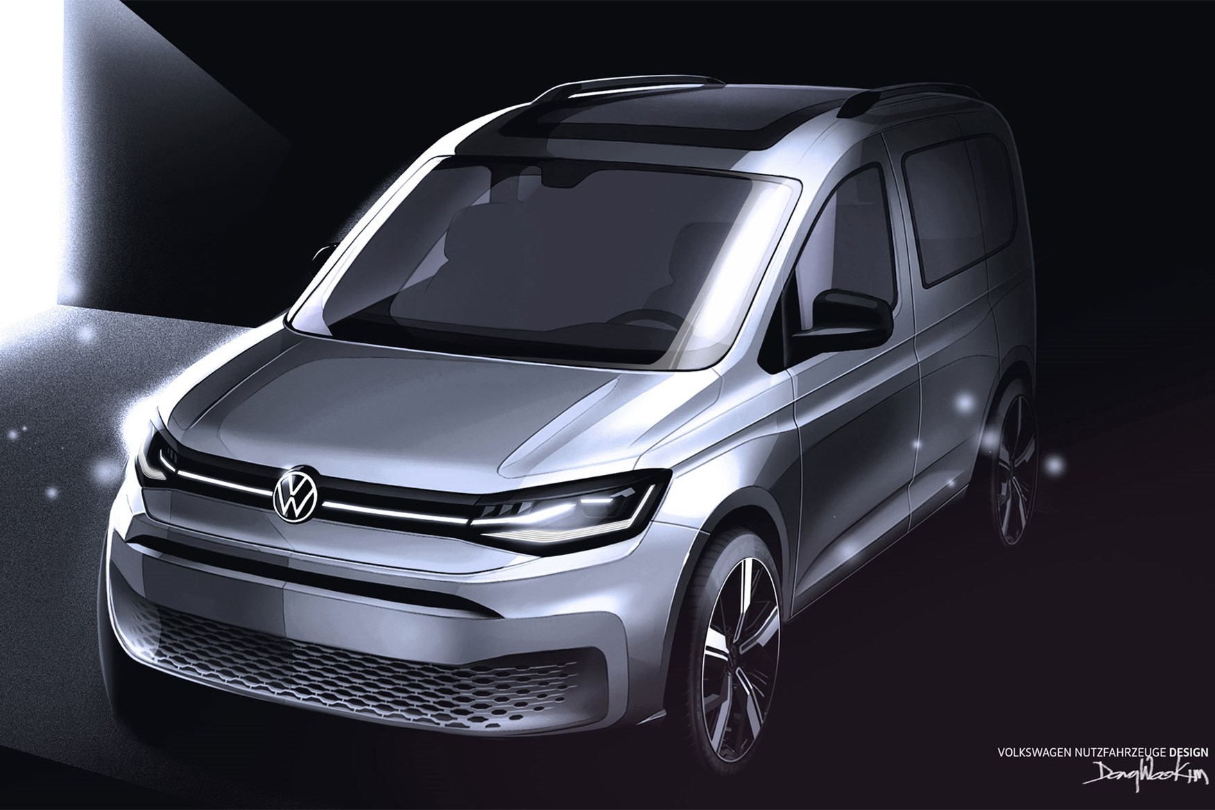 2020 VW Caddy van official design sketch - front view, silver