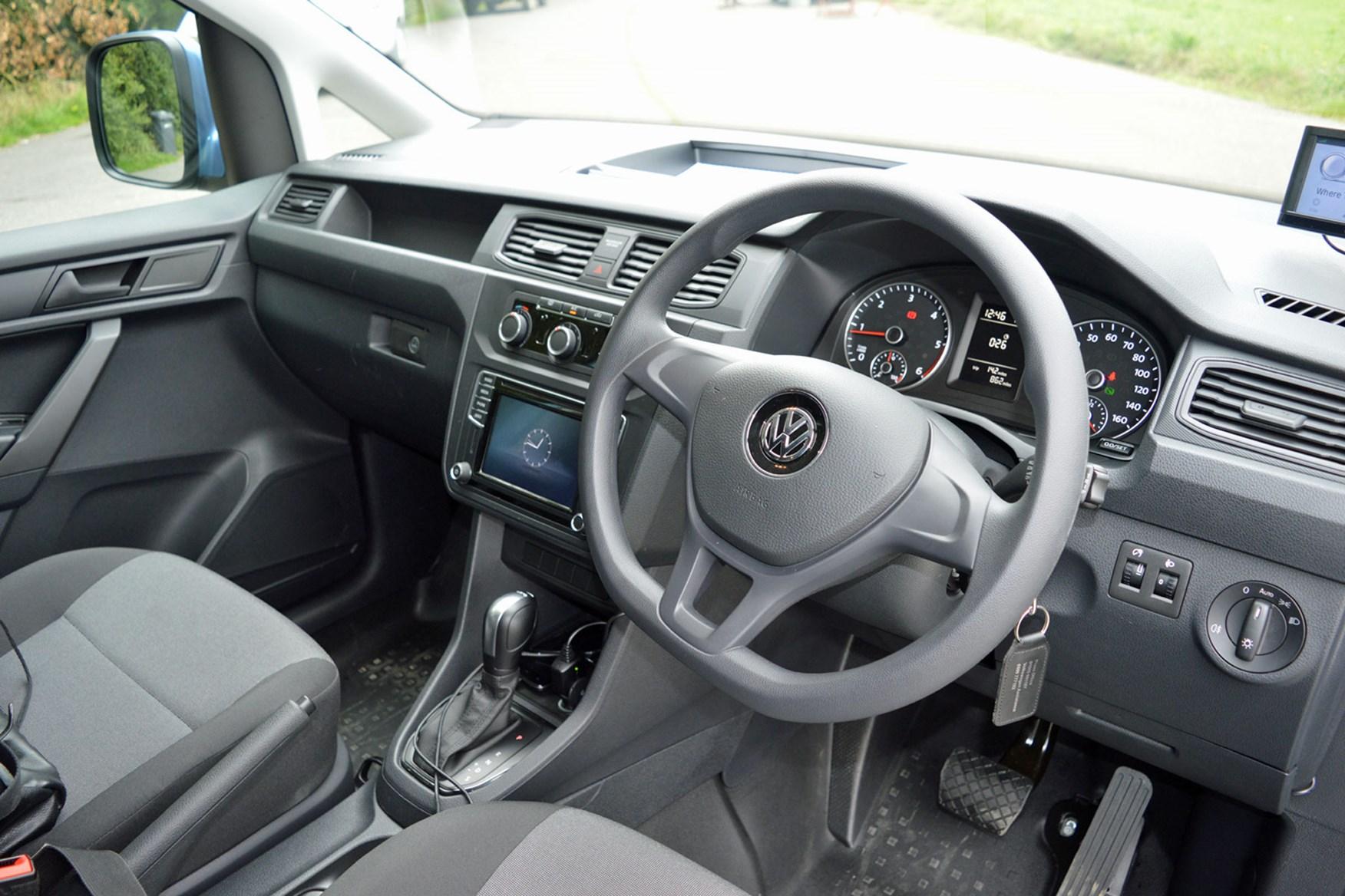 VW Caddy 1.6-litre TDI 102 DSG review - cab interior, 2015