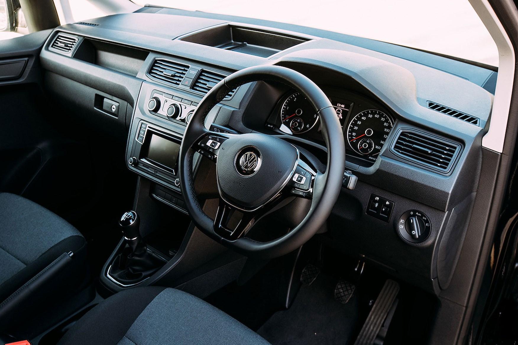 VW Caddy Black Edition review - cab interior, 2017