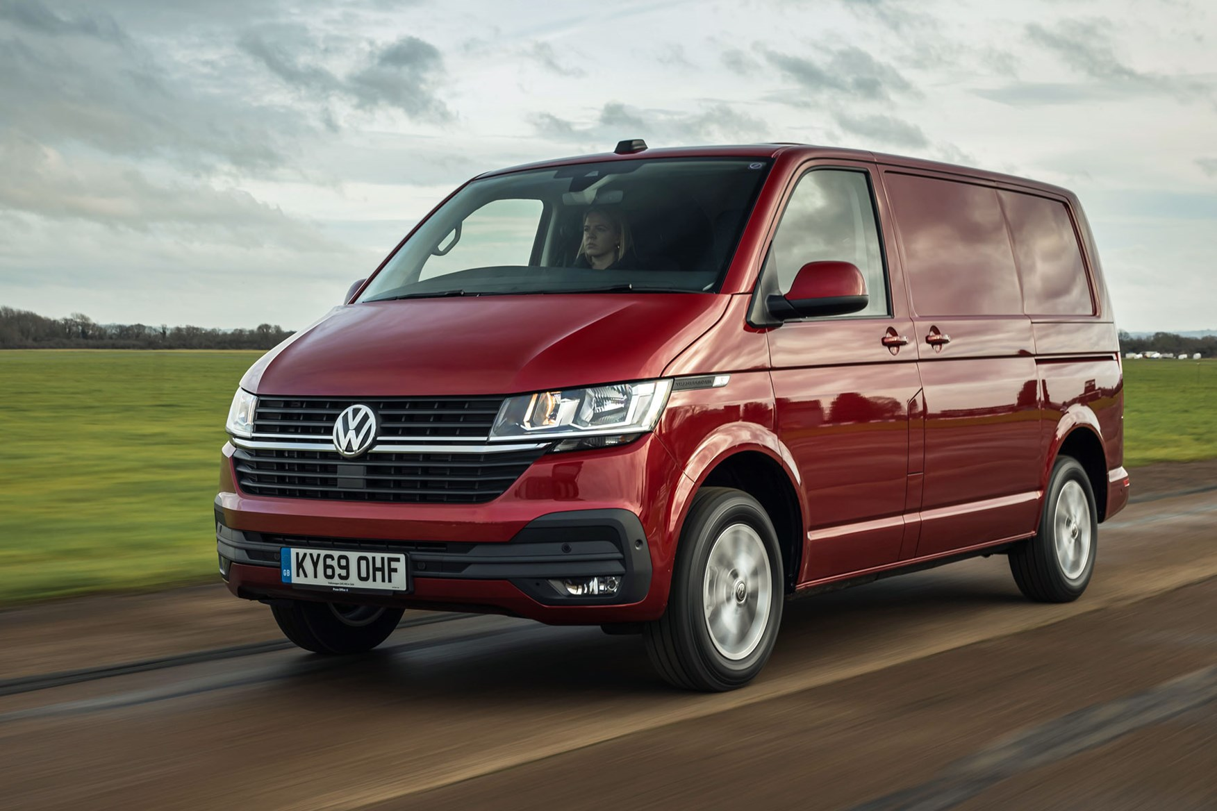 Volkswagen Transporter review, T6.1, 2020, red, front view, driving