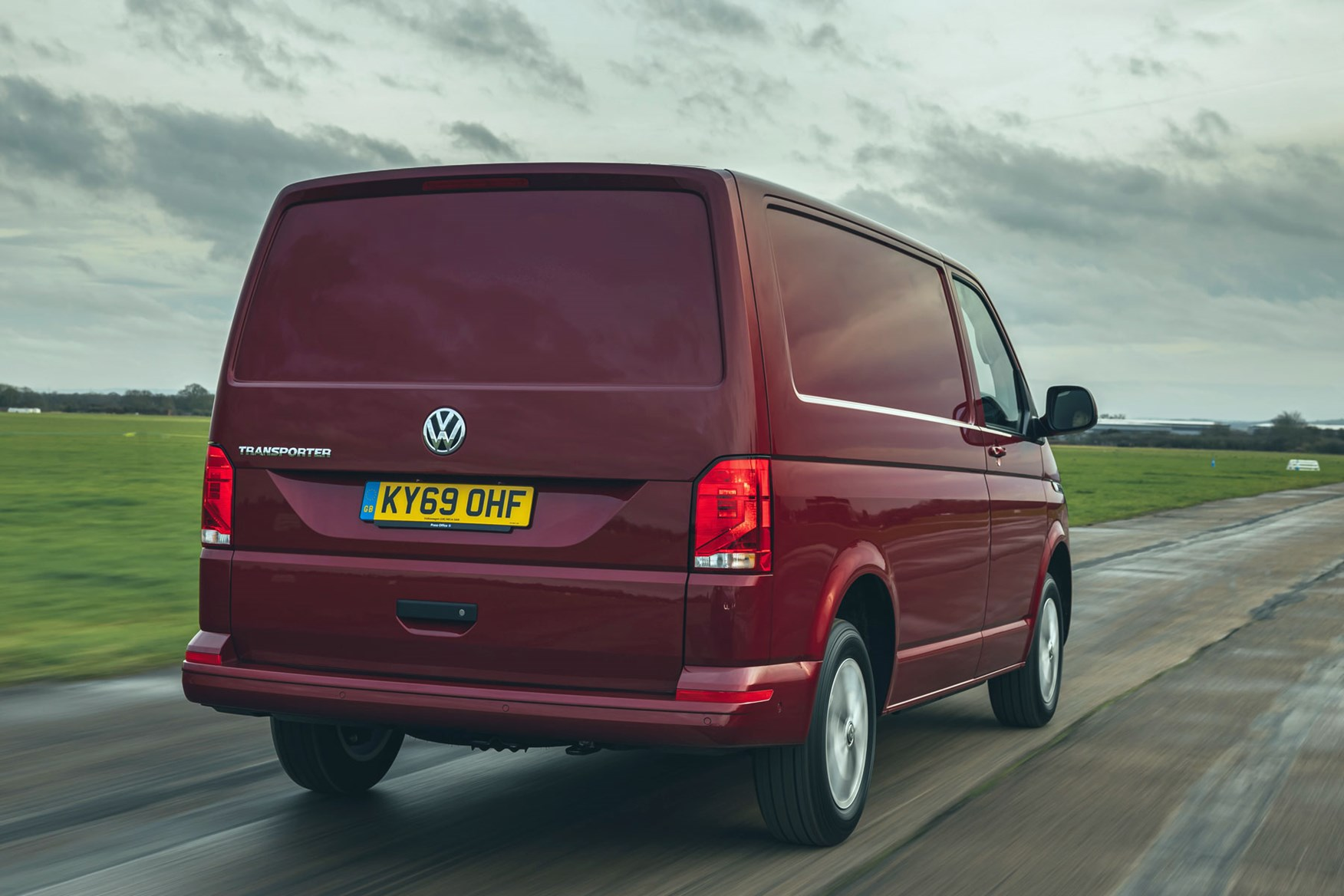 Volkswagen Transporter review, T6.1, 2020, red, rear, driving