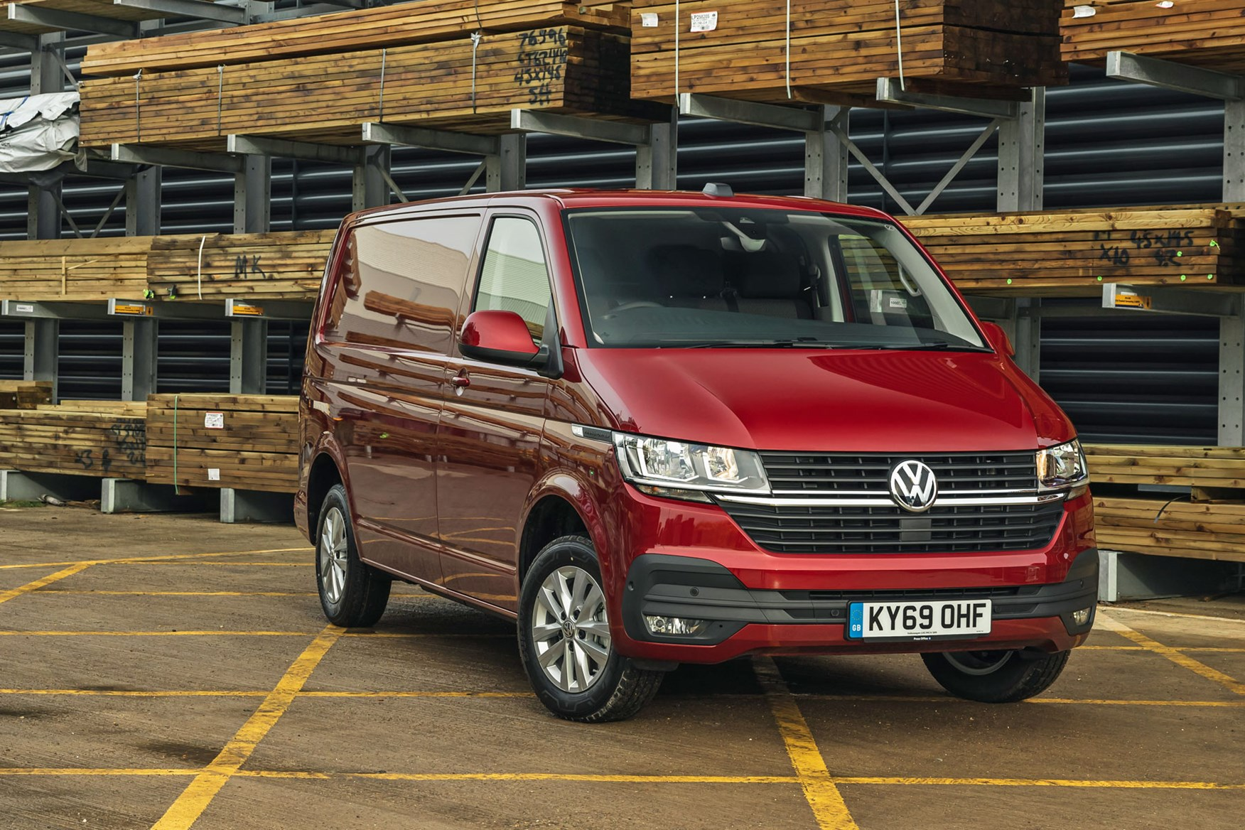 Volkswagen Transporter review, T6.1, 2020, red, front view