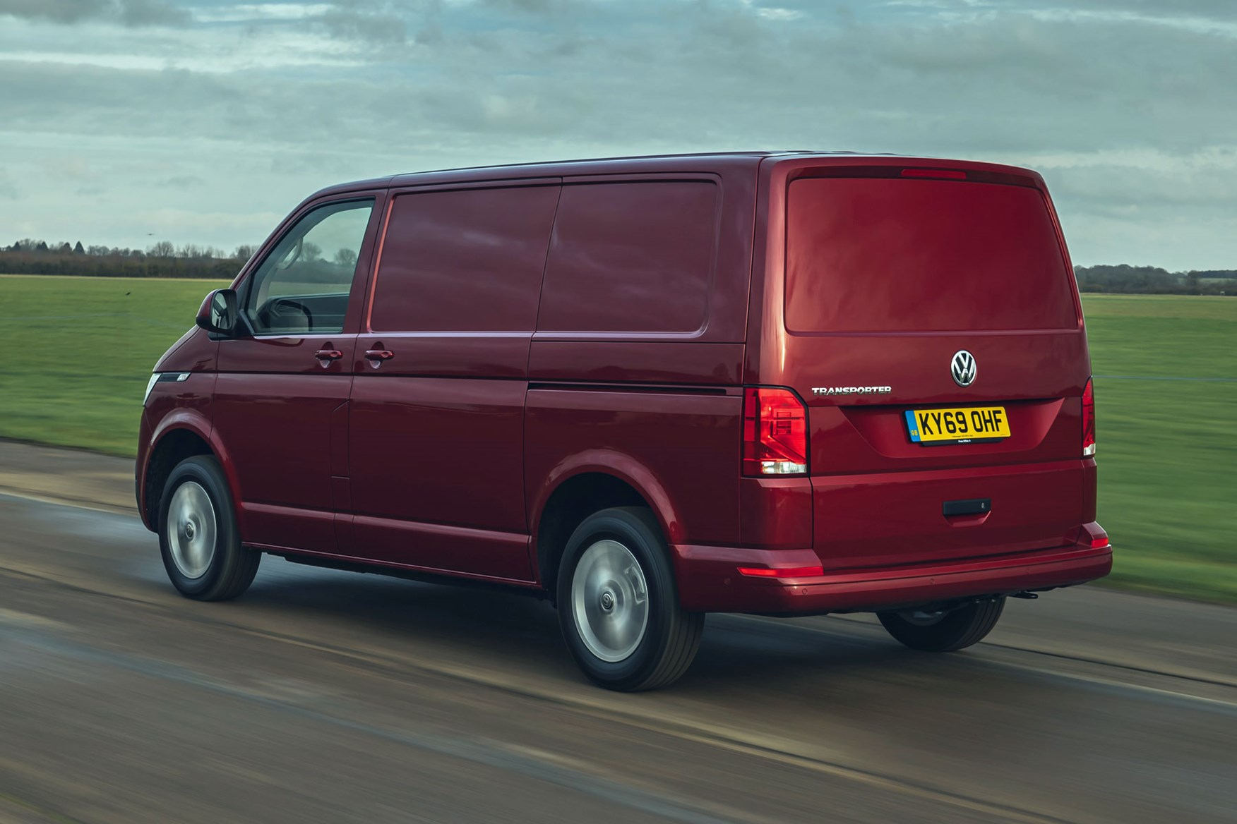 Volkswagen Transporter review, T6.1, 2020, red, rear view, driving