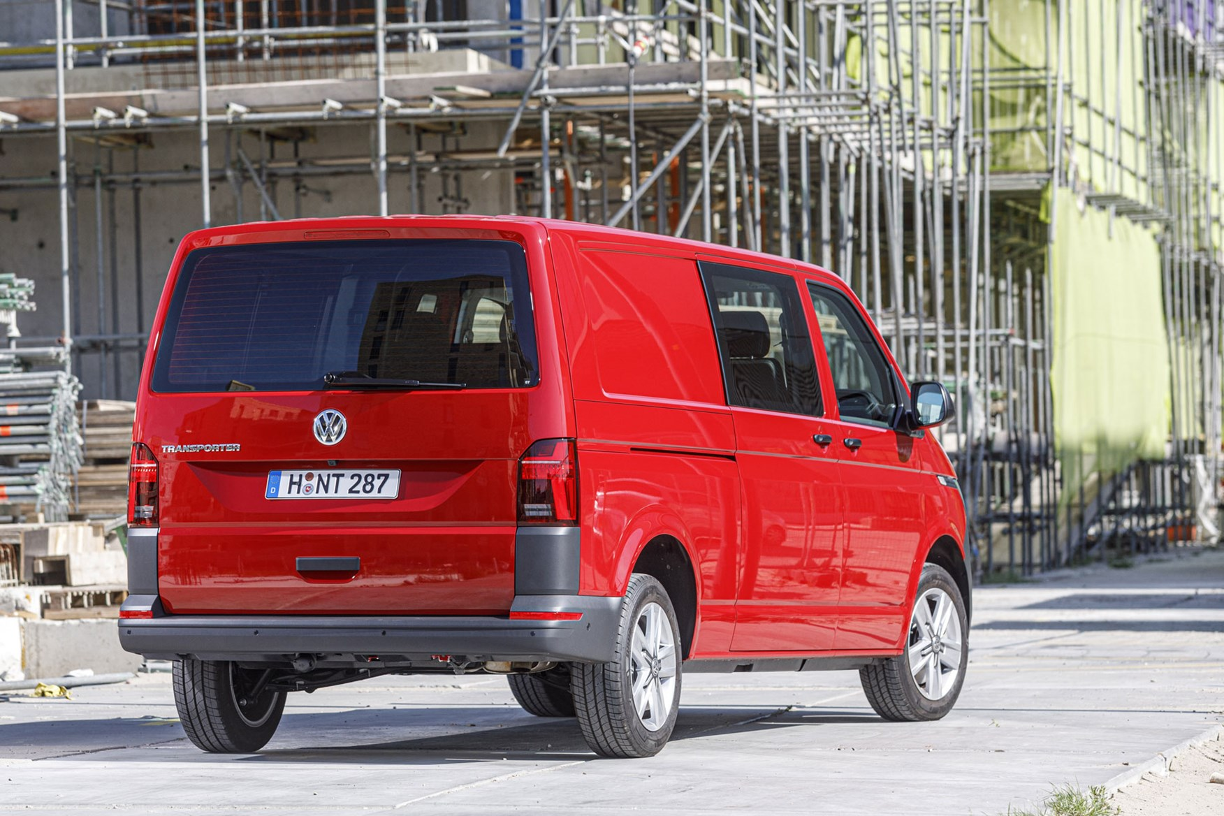 VW Transporter review - T6.1 2019 facelift, rear view, LWB kombi, red