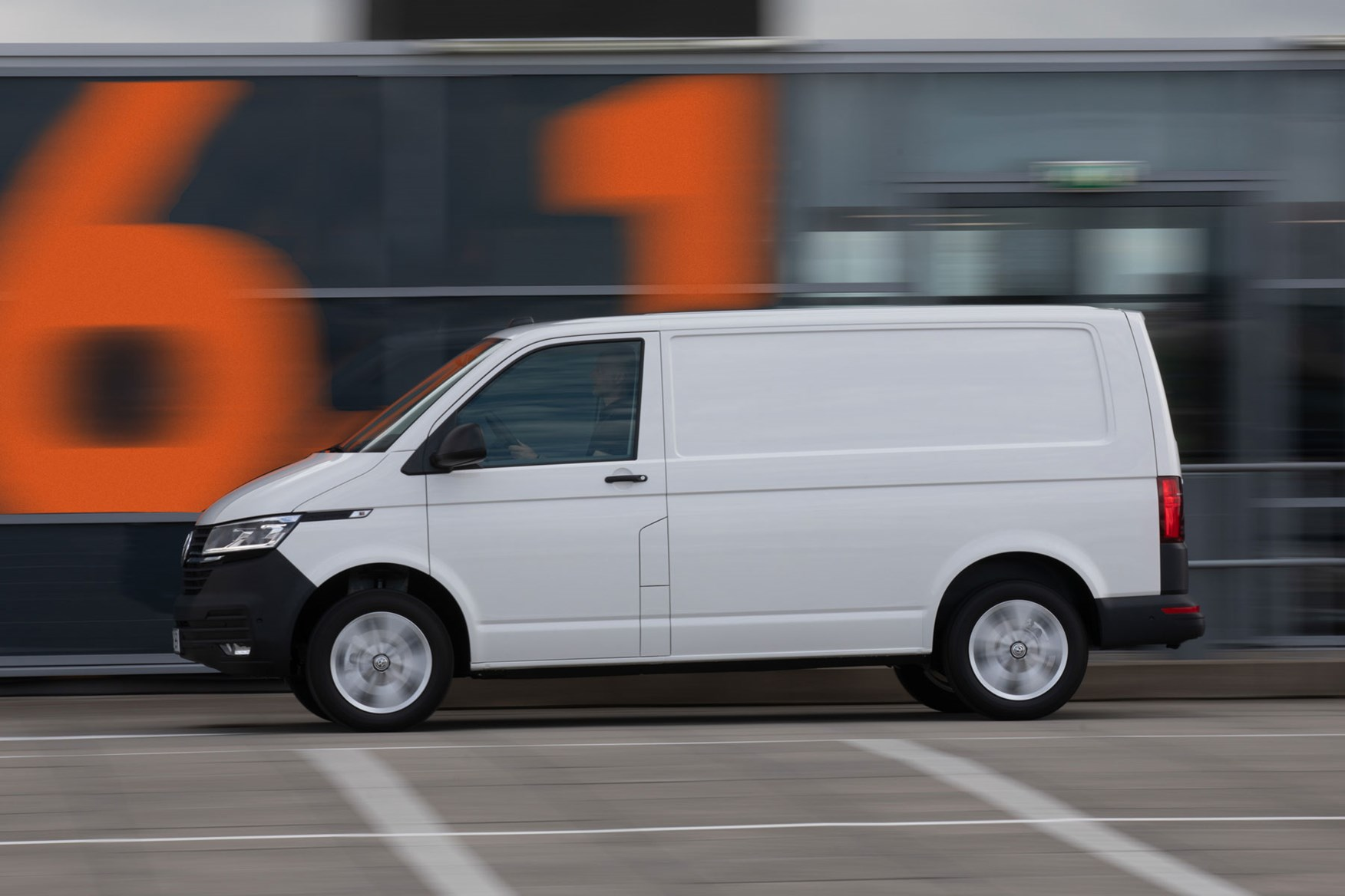 VW Transporter review - T6.1 2019 facelift, side view, white, driving