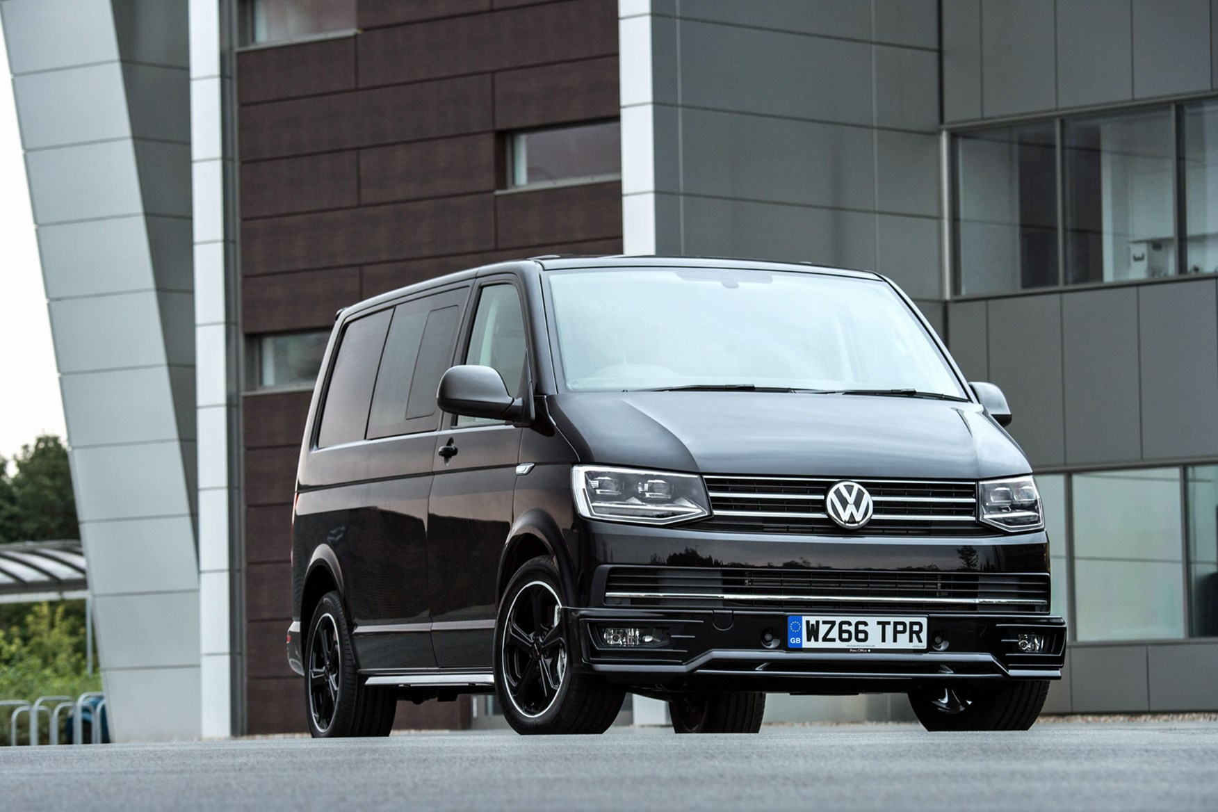 VW Transporter T6 Sportline review - kombi, black, front view