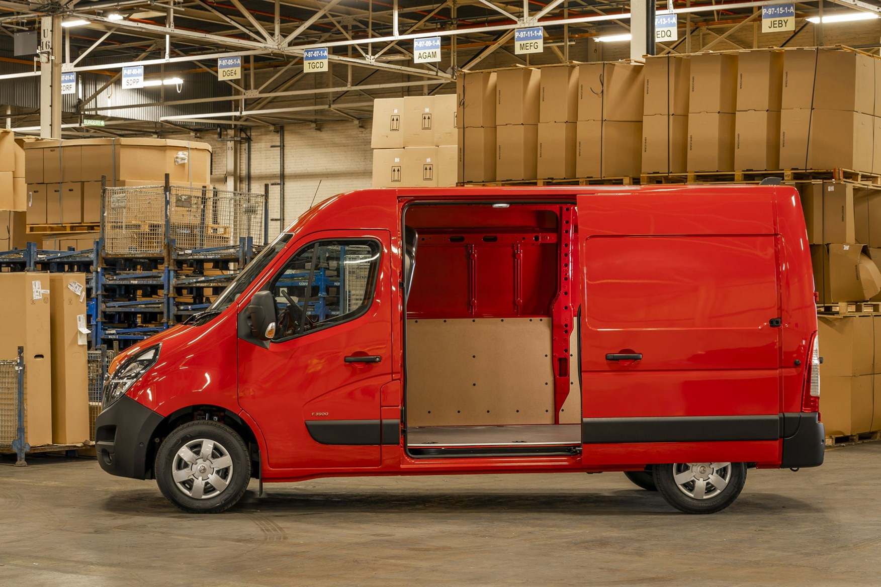 Vauxhall Movano - 2020 model year, side view with sliding door open, red, 2019