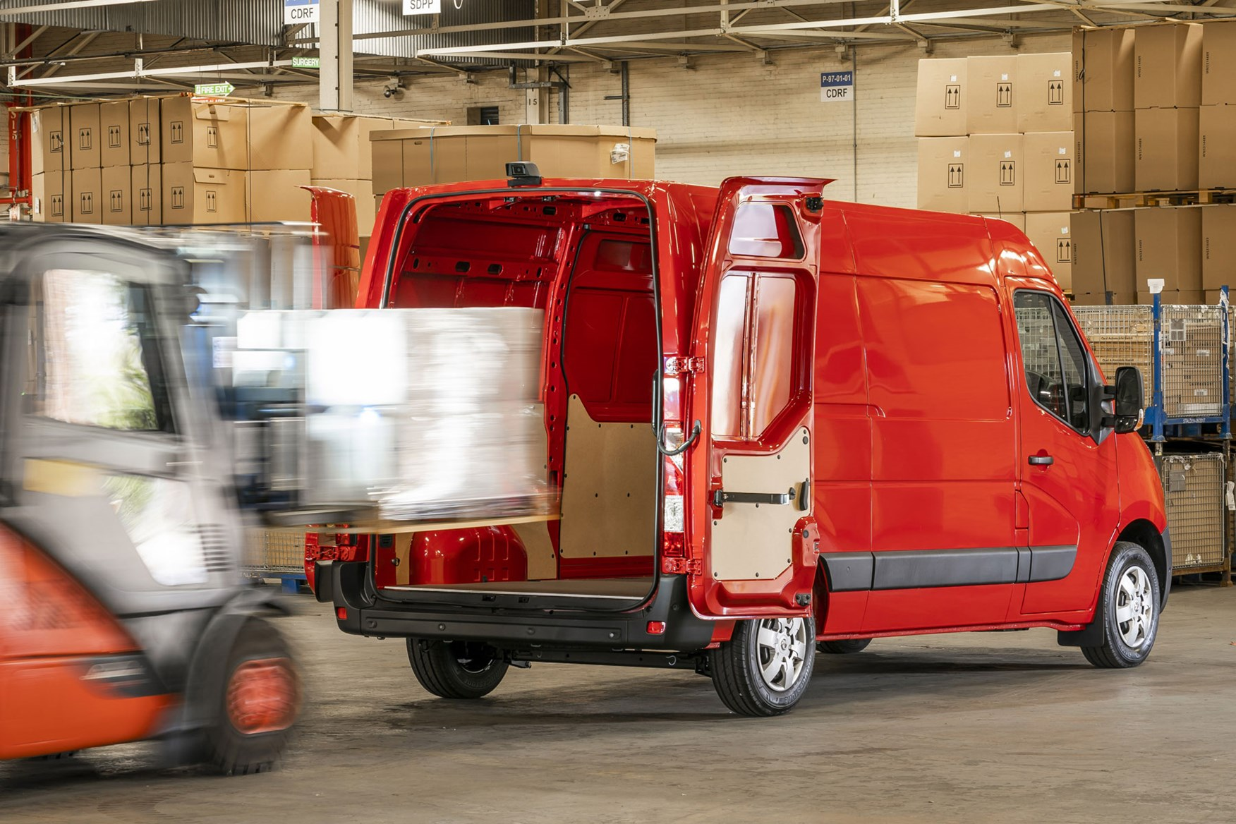Vauxhall Movano - 2020 model year, being loaded though rear doors by forklift truck, 2019