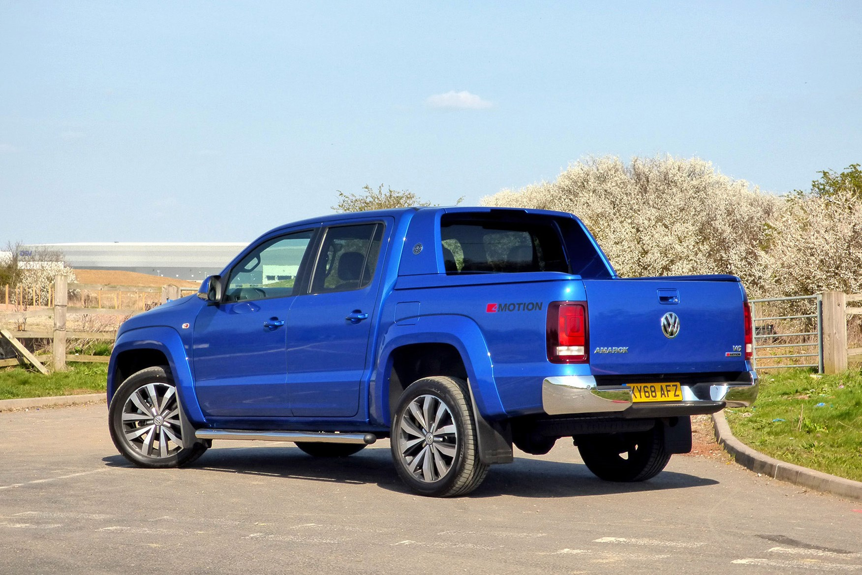 VW Amarok V6 Aventura 258hp review - rear view, blue