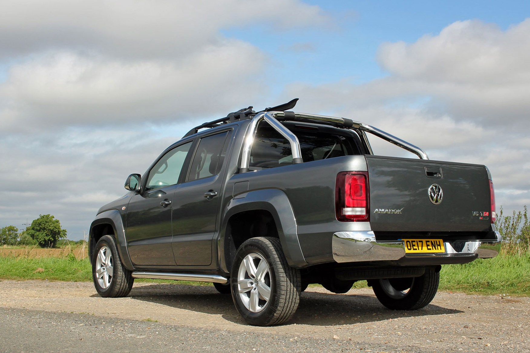 VW Amarok V6 Highline 224hp review - rear view, grey