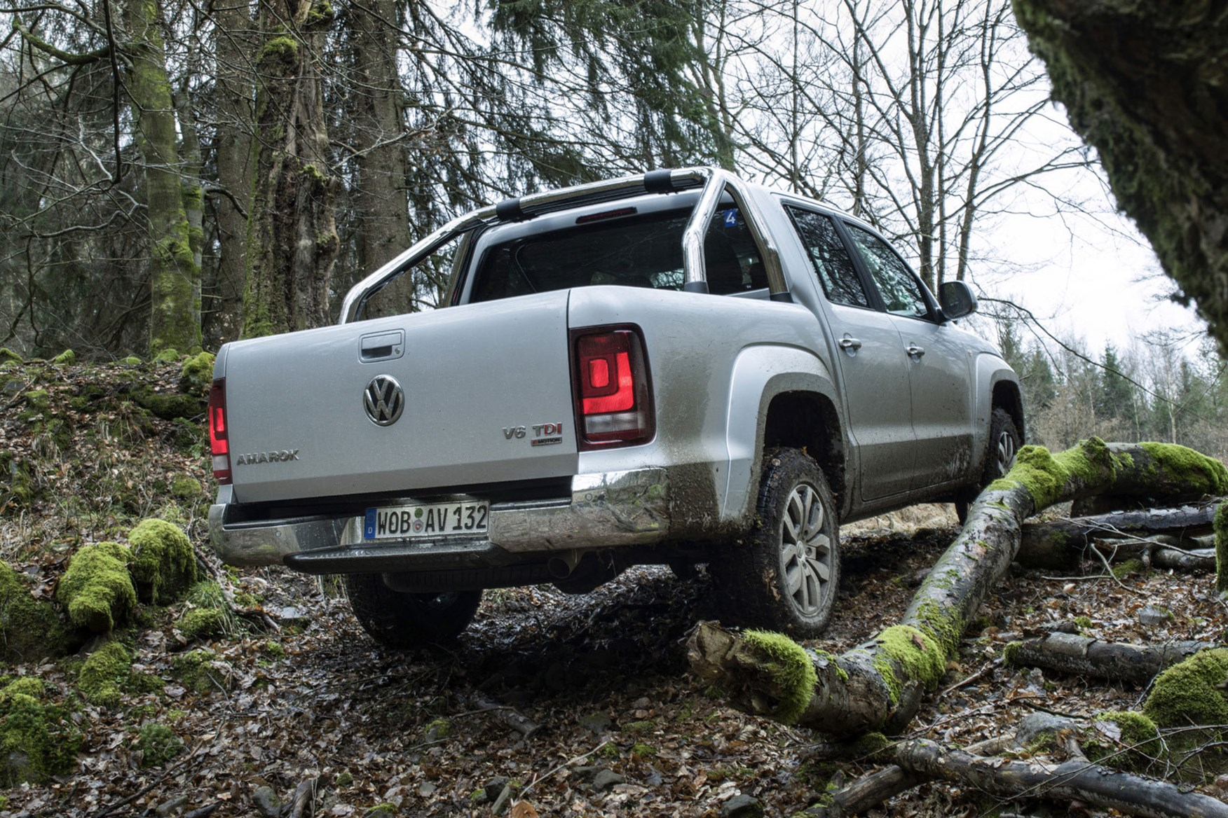 VW Amarok V6 Trendline 204hp review - rear view, off-road, silver