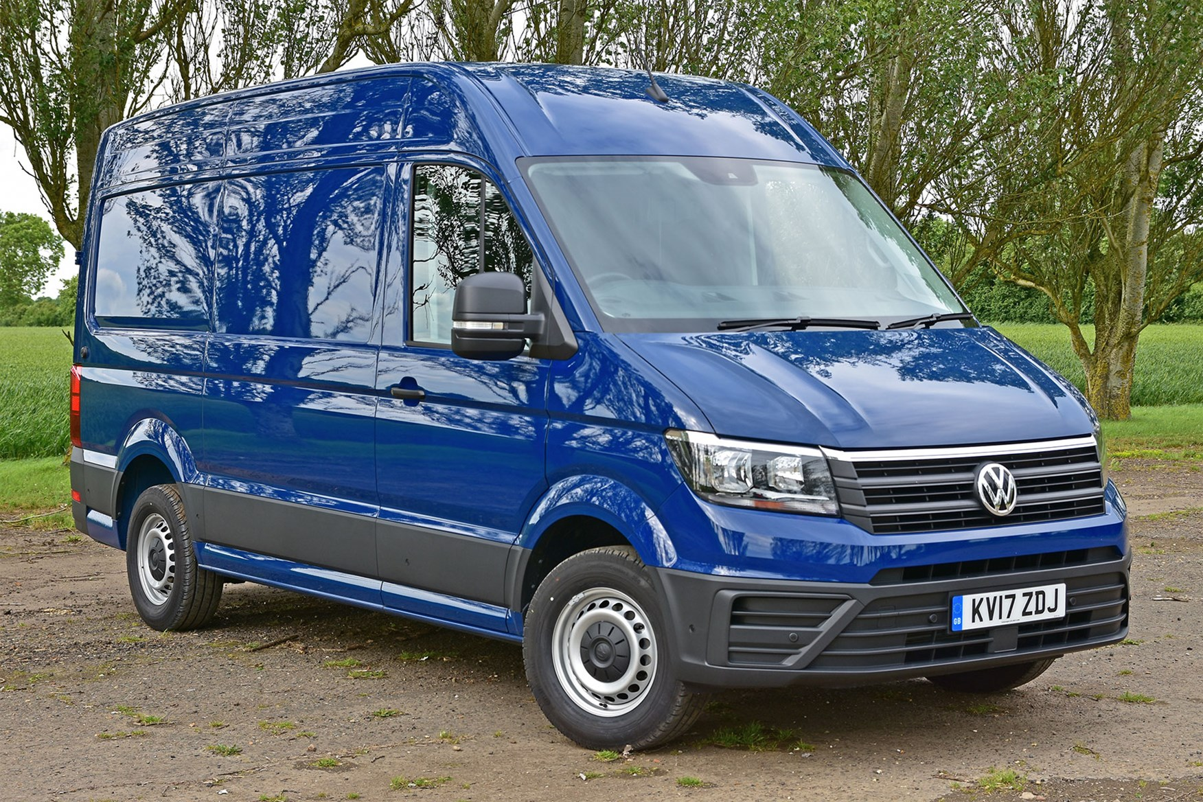 VW Crafter FWD review - front view, blue
