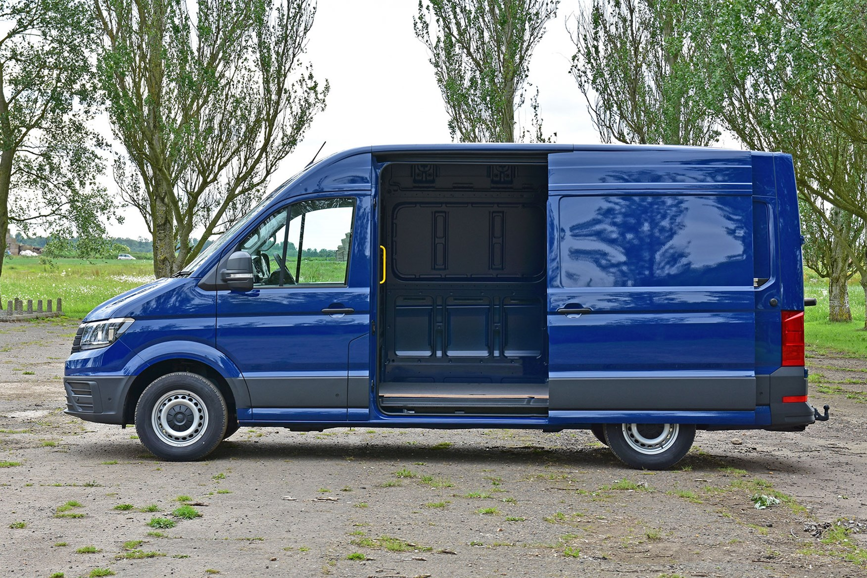 VW Crafter FWD review - side view, side door open, blue